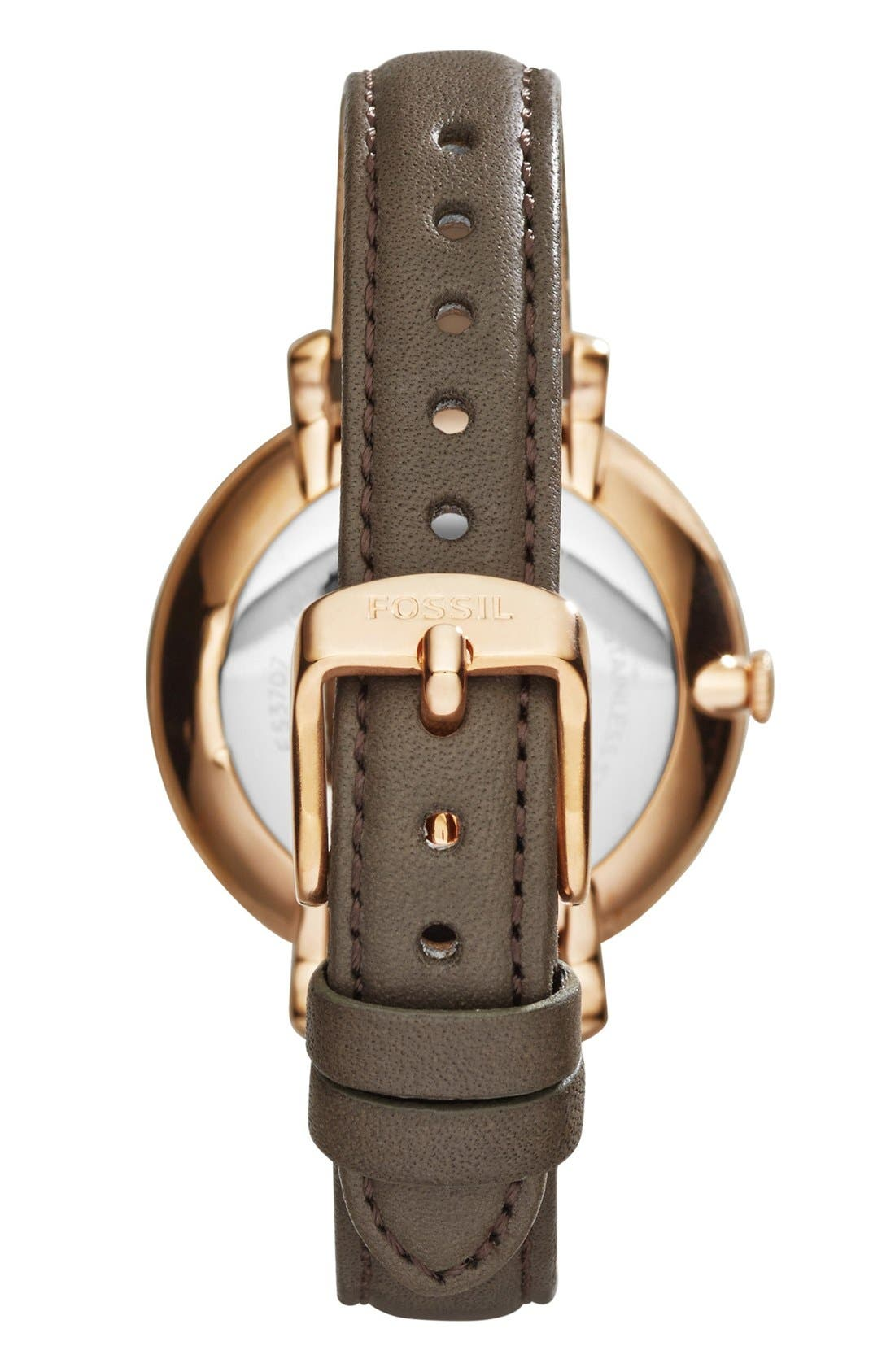 FOSSIL, 'Jacqueline' Round Leather Strap Watch, 36mm, Alternate thumbnail 3, color, IRON/ ROSE GOLD