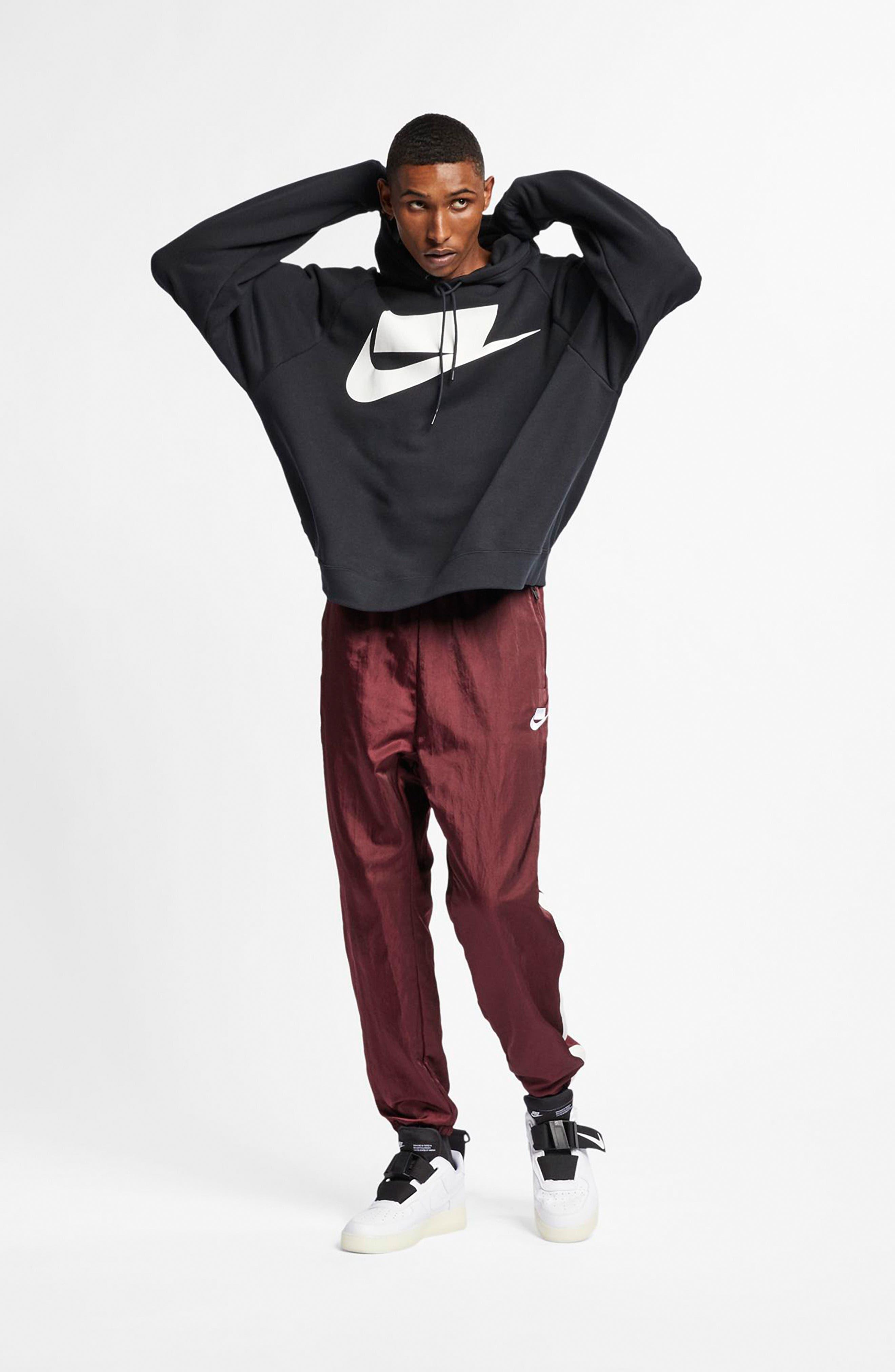 NIKE, Sportswear NSW Men's French Terry Hoodie, Alternate thumbnail 7, color, BLACK/ WHITE