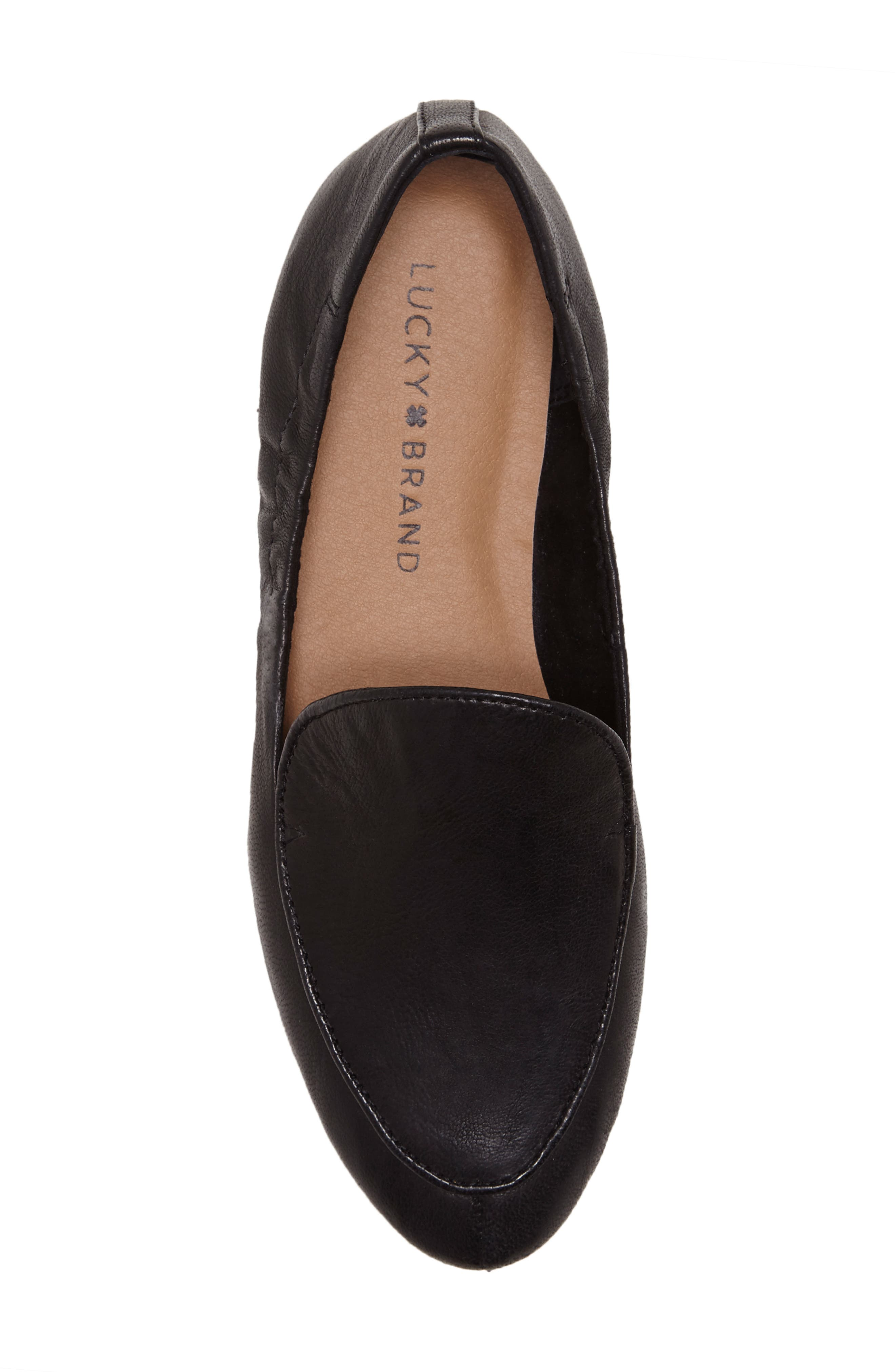 LUCKY BRAND, Bellana Loafer, Alternate thumbnail 4, color, BLACK LEATHER