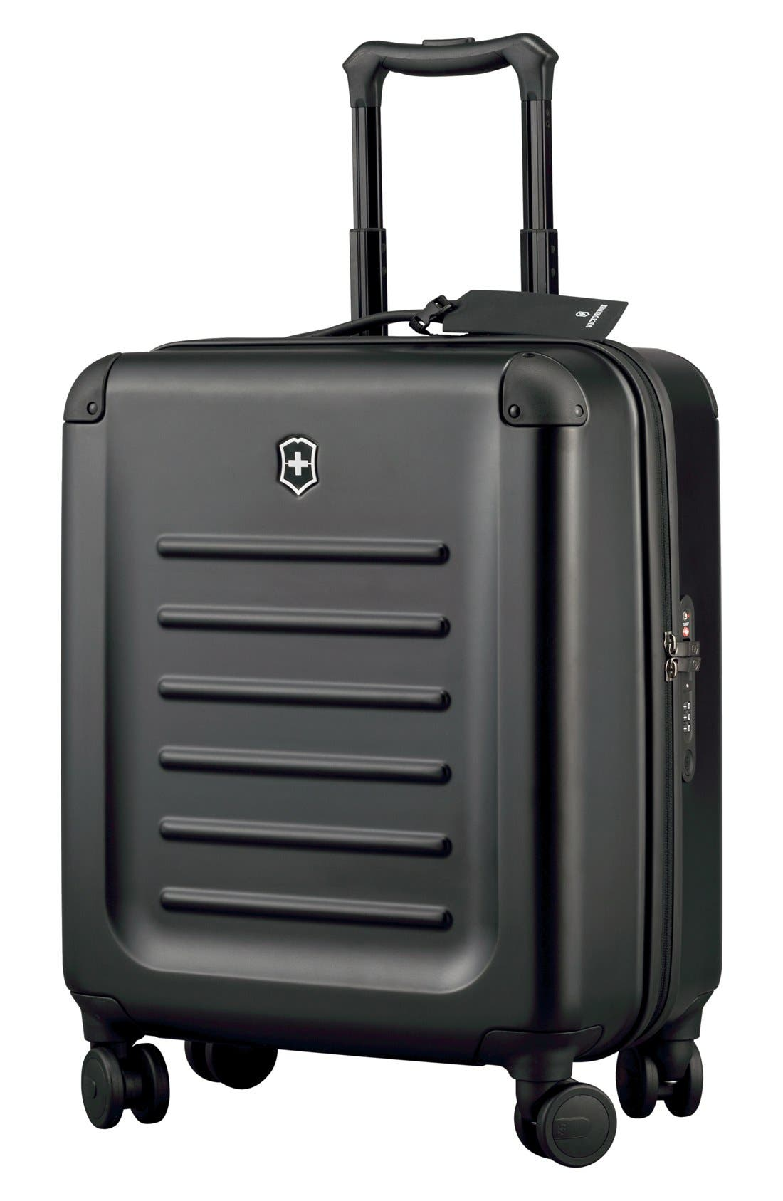 VICTORINOX SWISS ARMY<SUP>®</SUP>, Spectra 2.0 Extra Capacity Hard Sided Rolling 22-Inch Carry-On, Main thumbnail 1, color, BLACK
