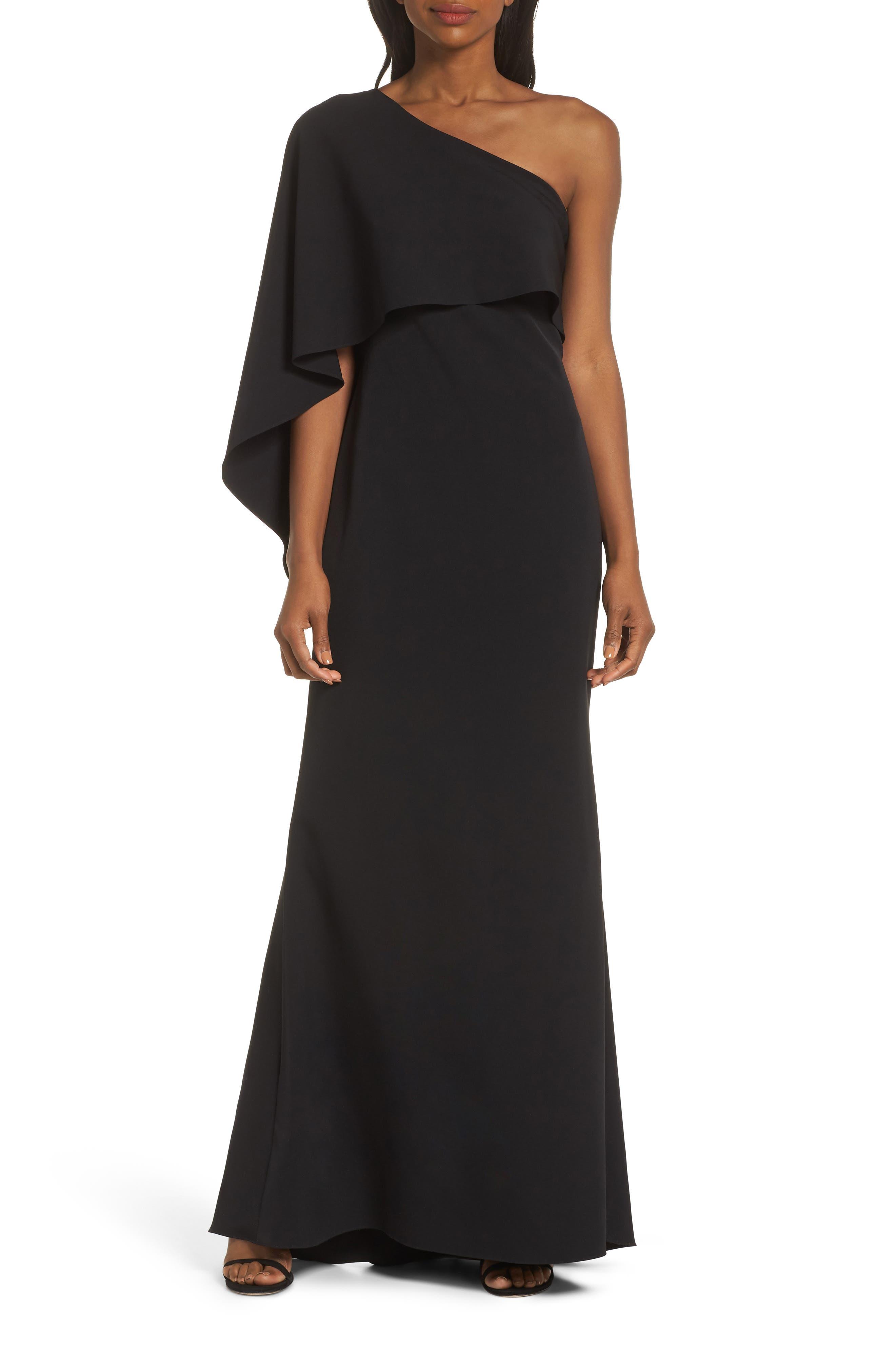 VINCE CAMUTO, One-Shoulder Cape Evening Dress, Main thumbnail 1, color, BLACK