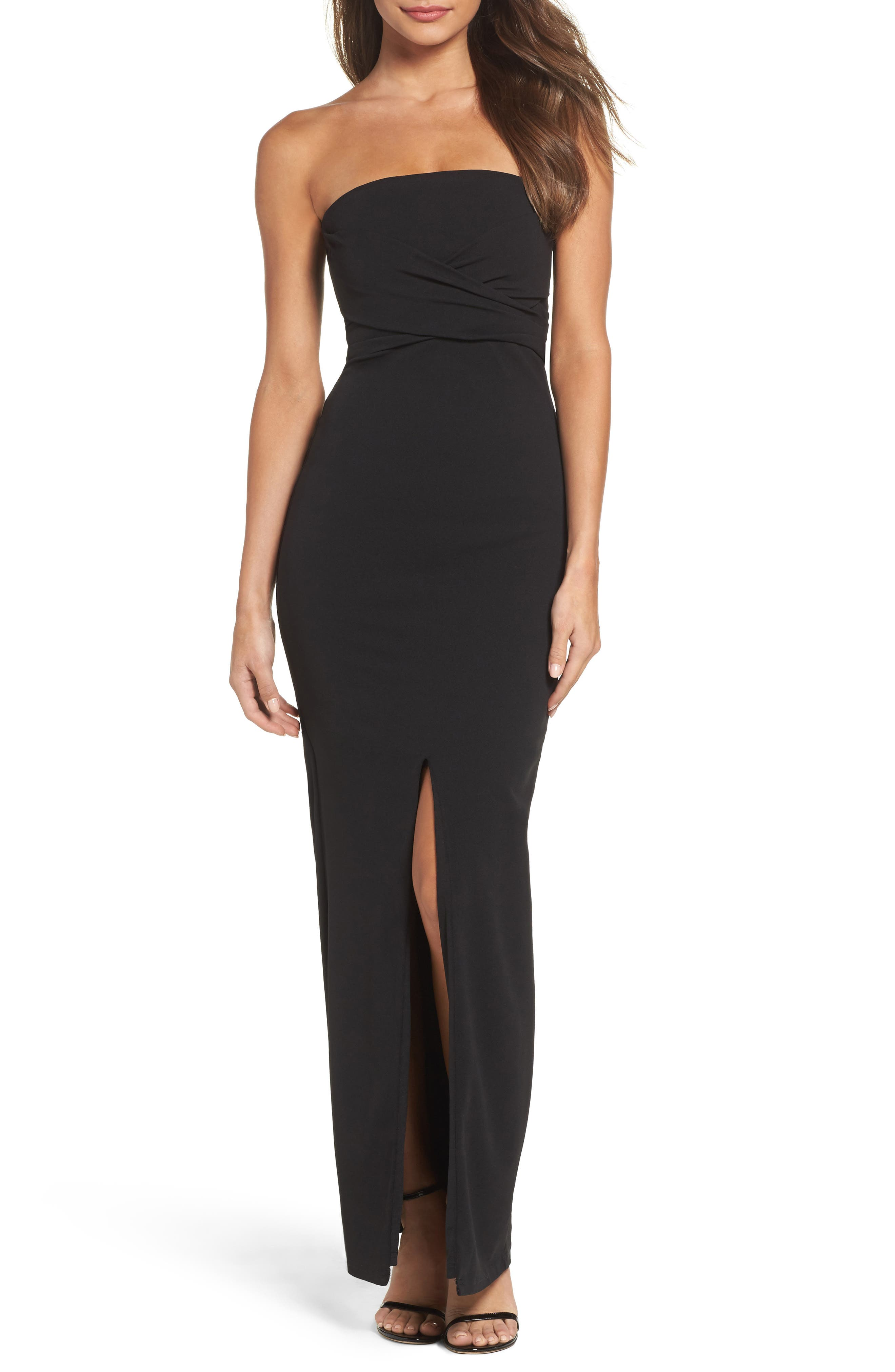 LULUS Own the Night Strapless Maxi Dress, Main, color, BLACK