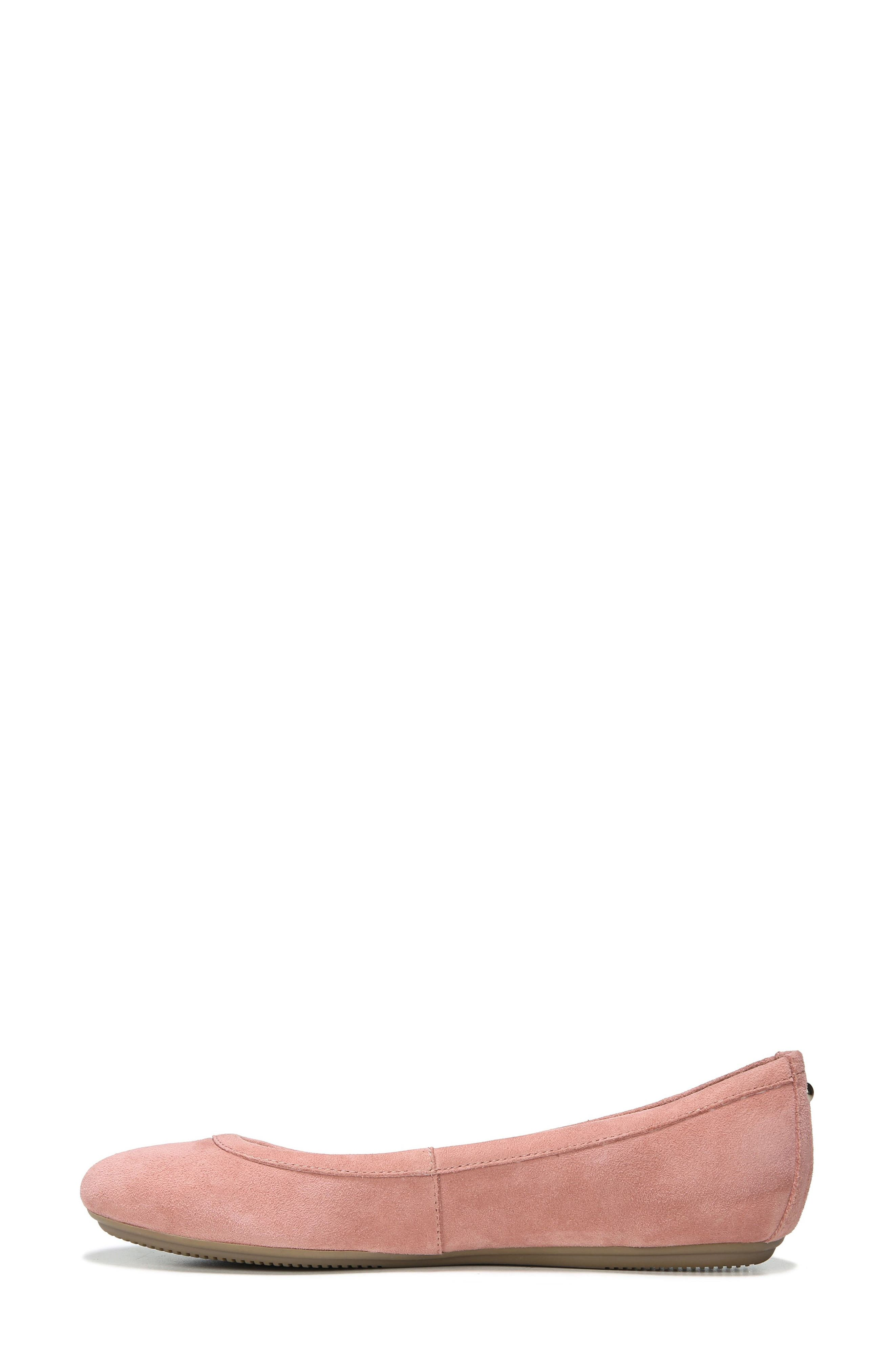 NATURALIZER, Brittany Ballet Flat, Alternate thumbnail 3, color, PEONY PINK SUEDE