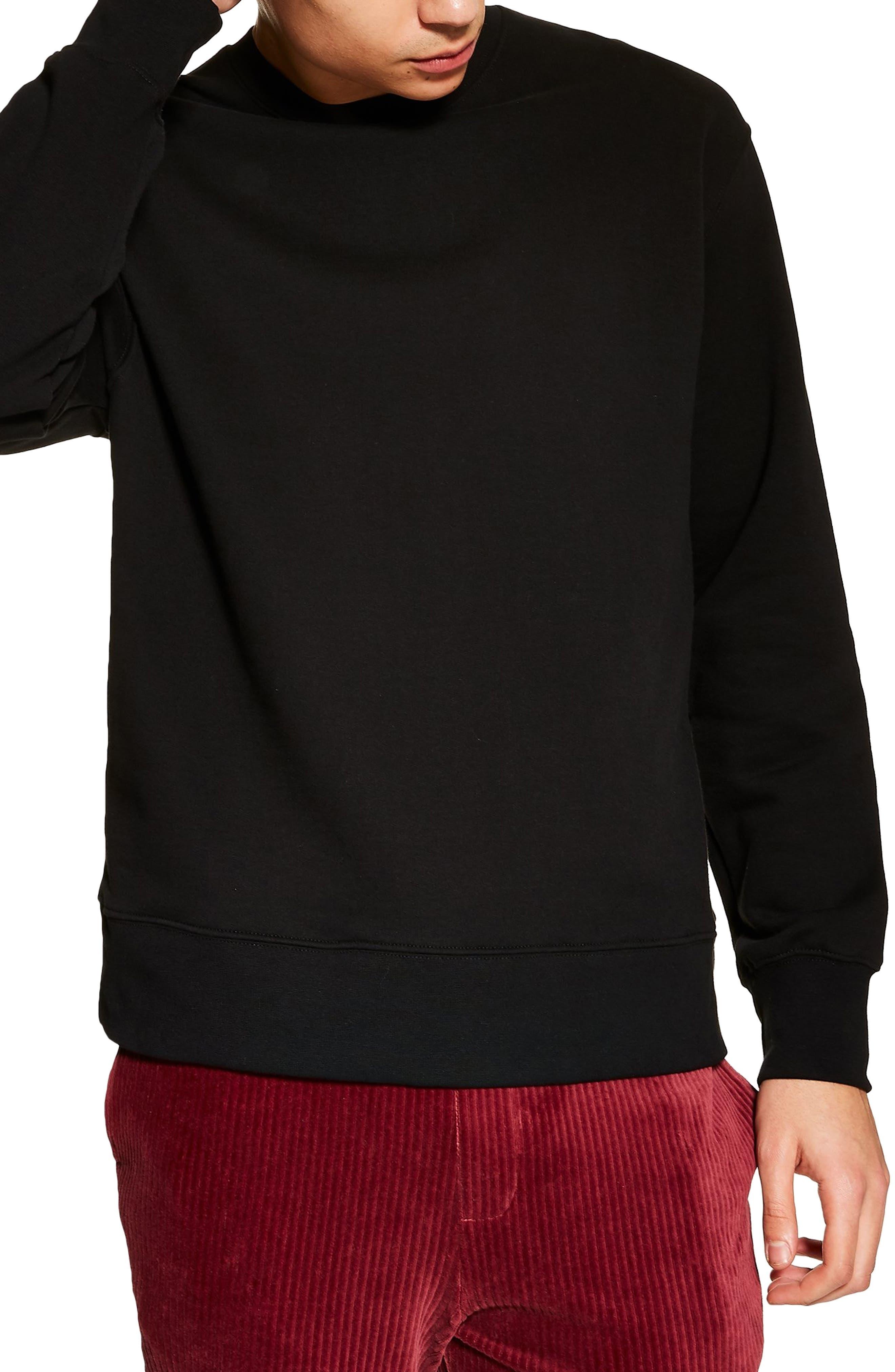 TOPMAN, Crewneck Sweatshirt, Main thumbnail 1, color, BLACK