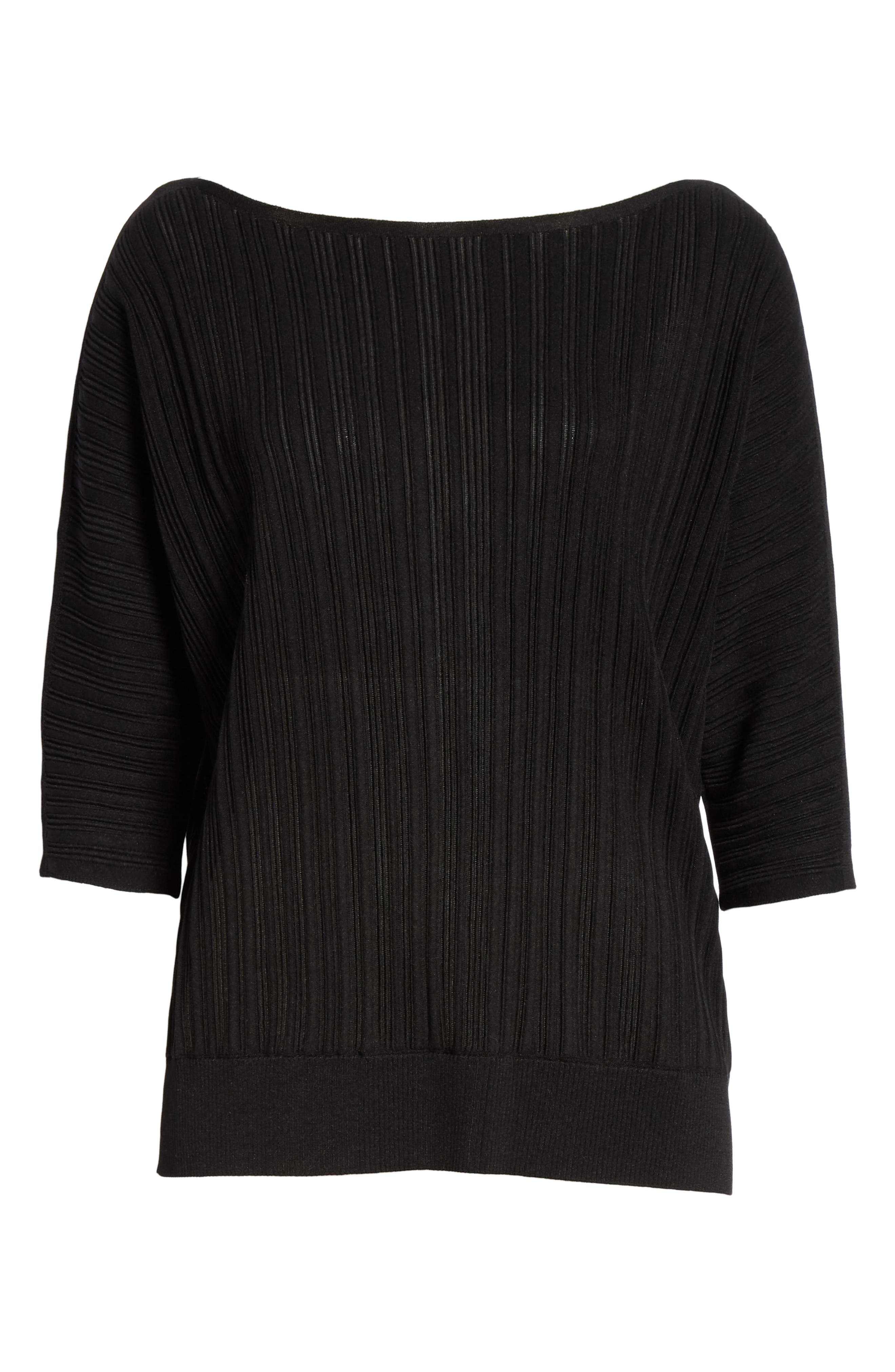 LAFAYETTE 148 NEW YORK, Plissé Ribbed Dolman Sweater, Alternate thumbnail 6, color, BLACK