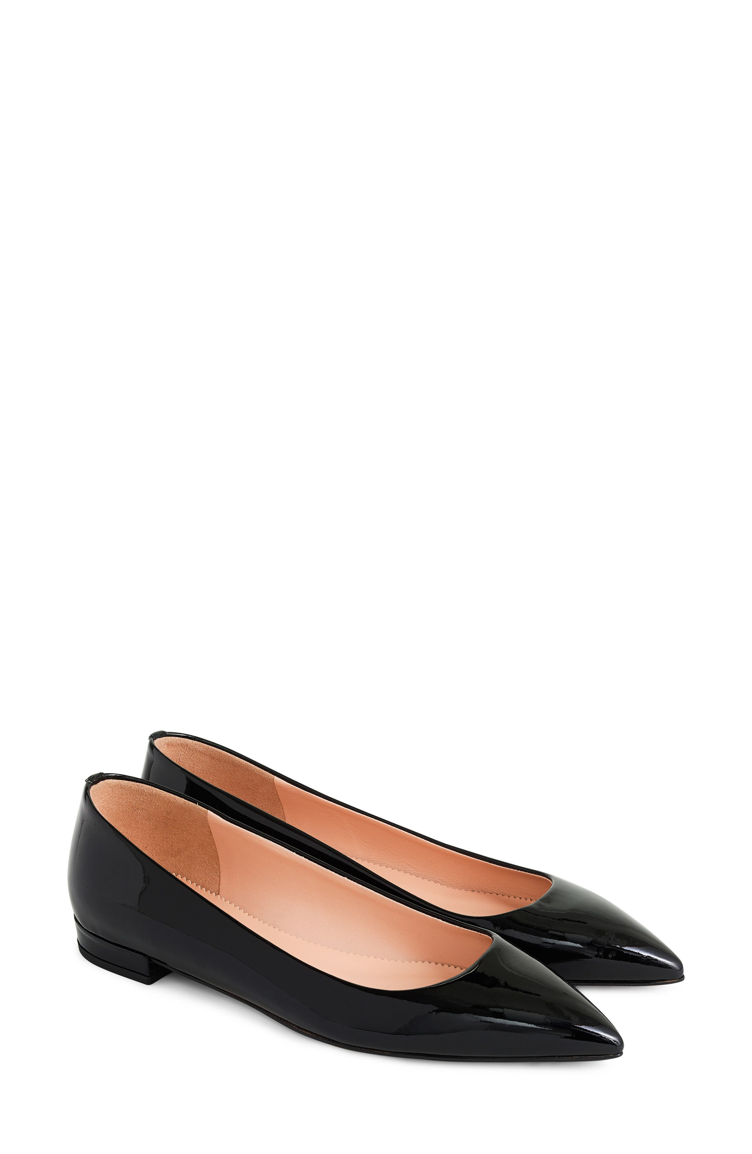 J.CREW Pointed Toe Flat, Main, color, BLACK PATENT LEATHER