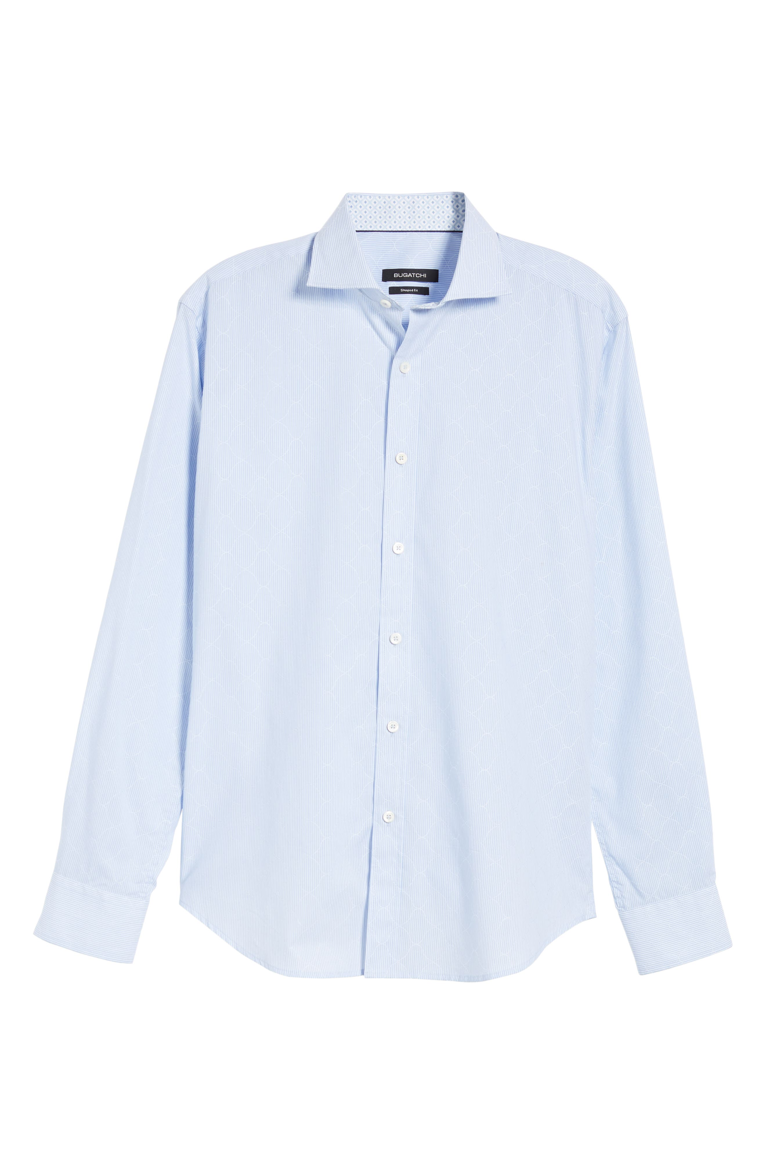 BUGATCHI, Shaped Fit Stripe Sport Shirt, Alternate thumbnail 5, color, SKY