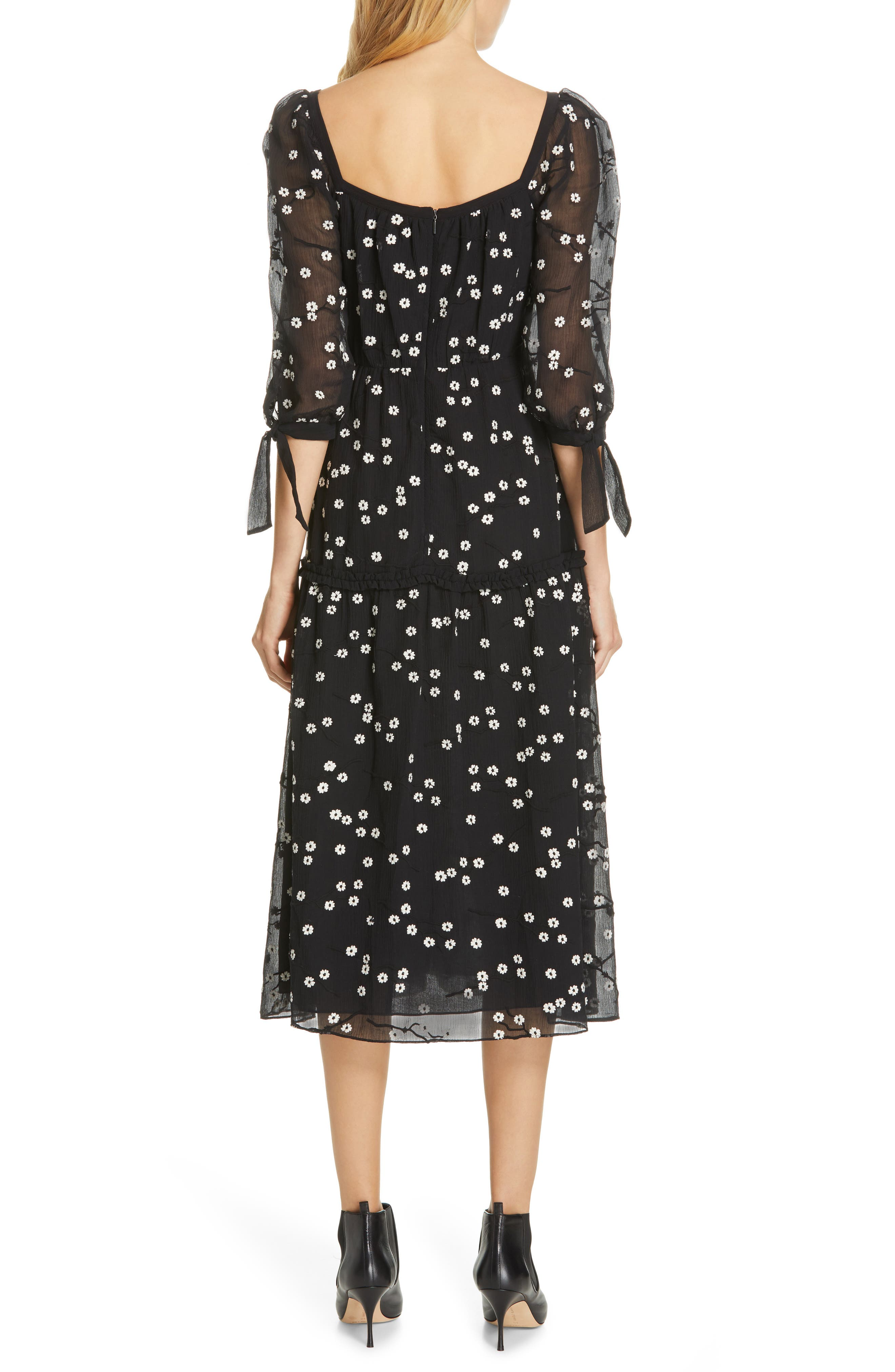 REBECCA TAYLOR, Allessandra Midi Dress, Alternate thumbnail 2, color, BLACK COMBO
