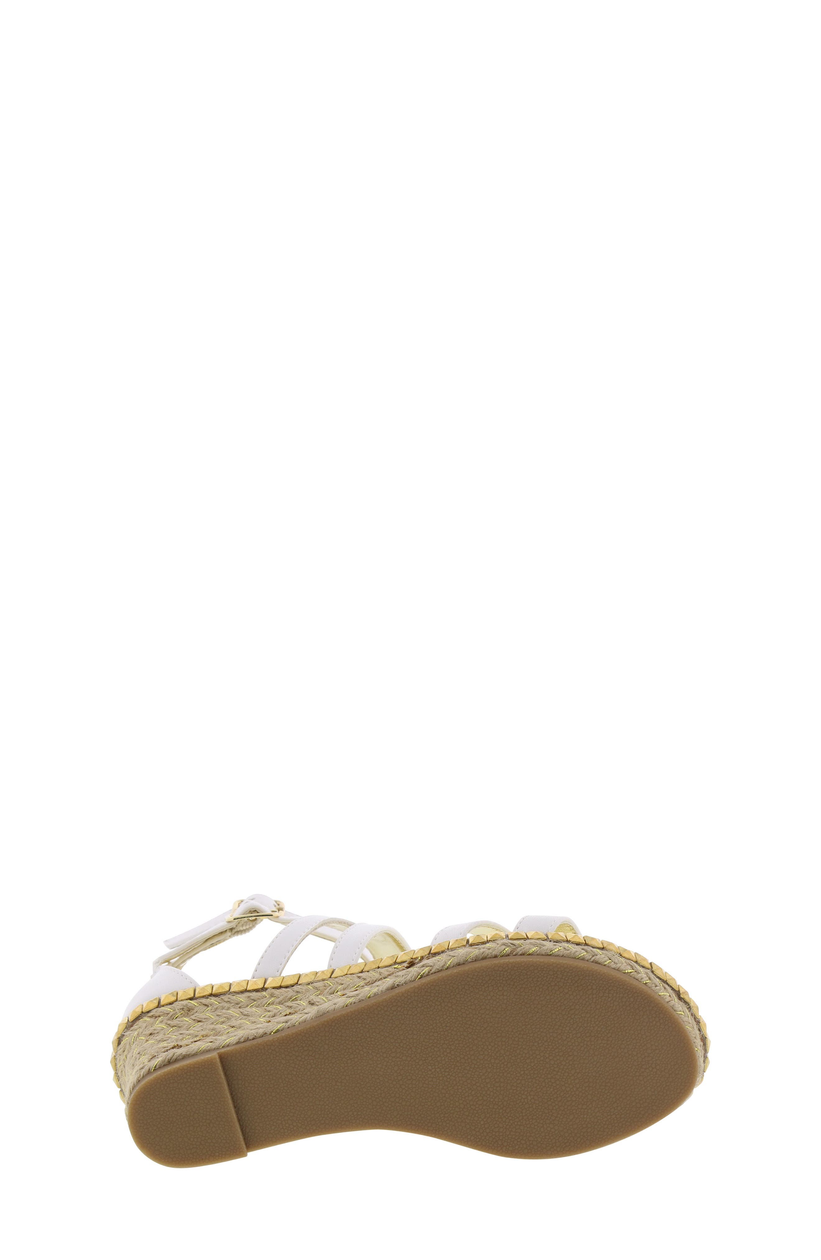 REACTION KENNETH COLE, Reed Splash Wedge Sandal, Alternate thumbnail 6, color, WHITE