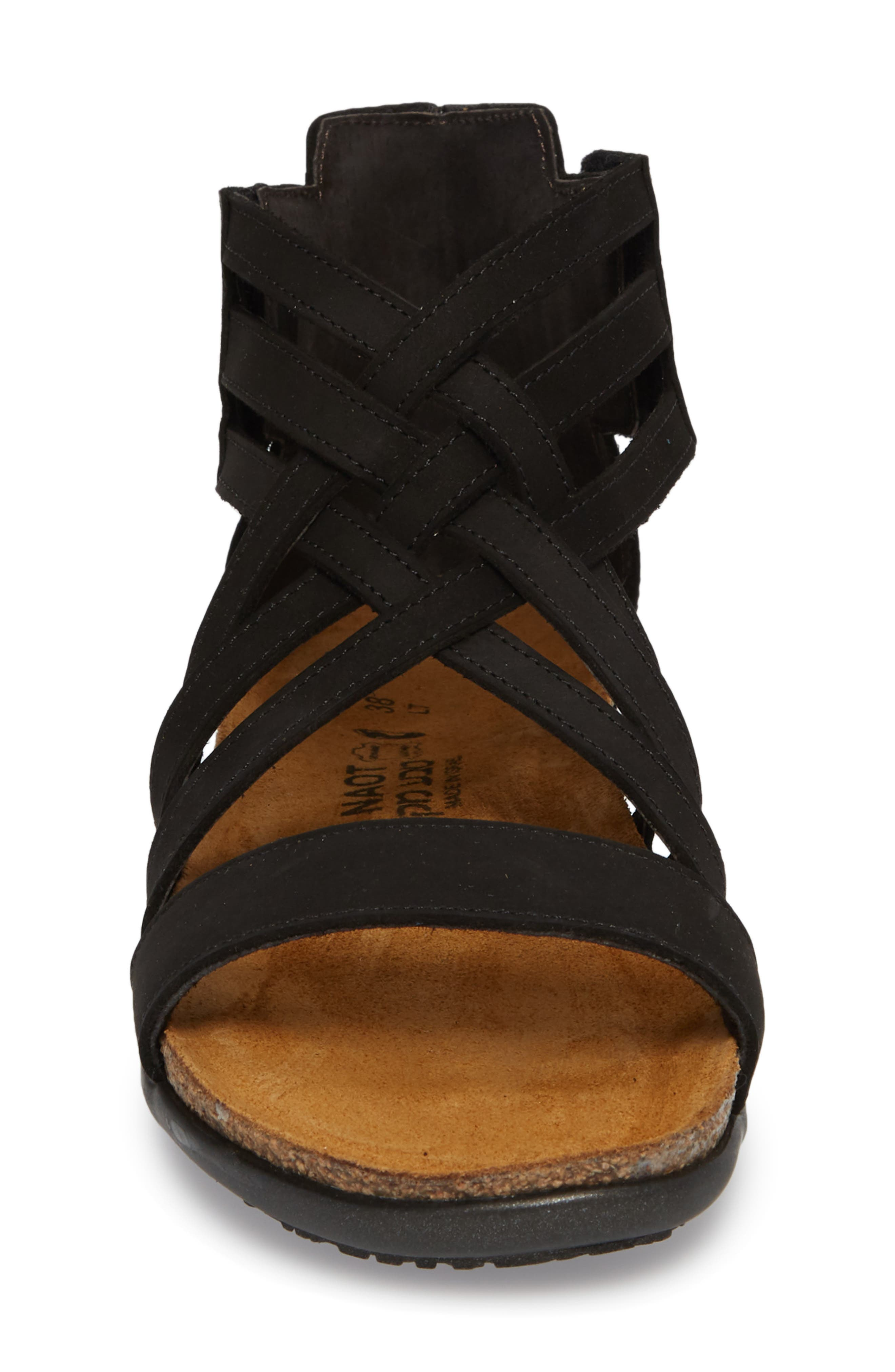 NAOT, Marita Sandal, Alternate thumbnail 4, color, BLACK VELVET NUBUCK