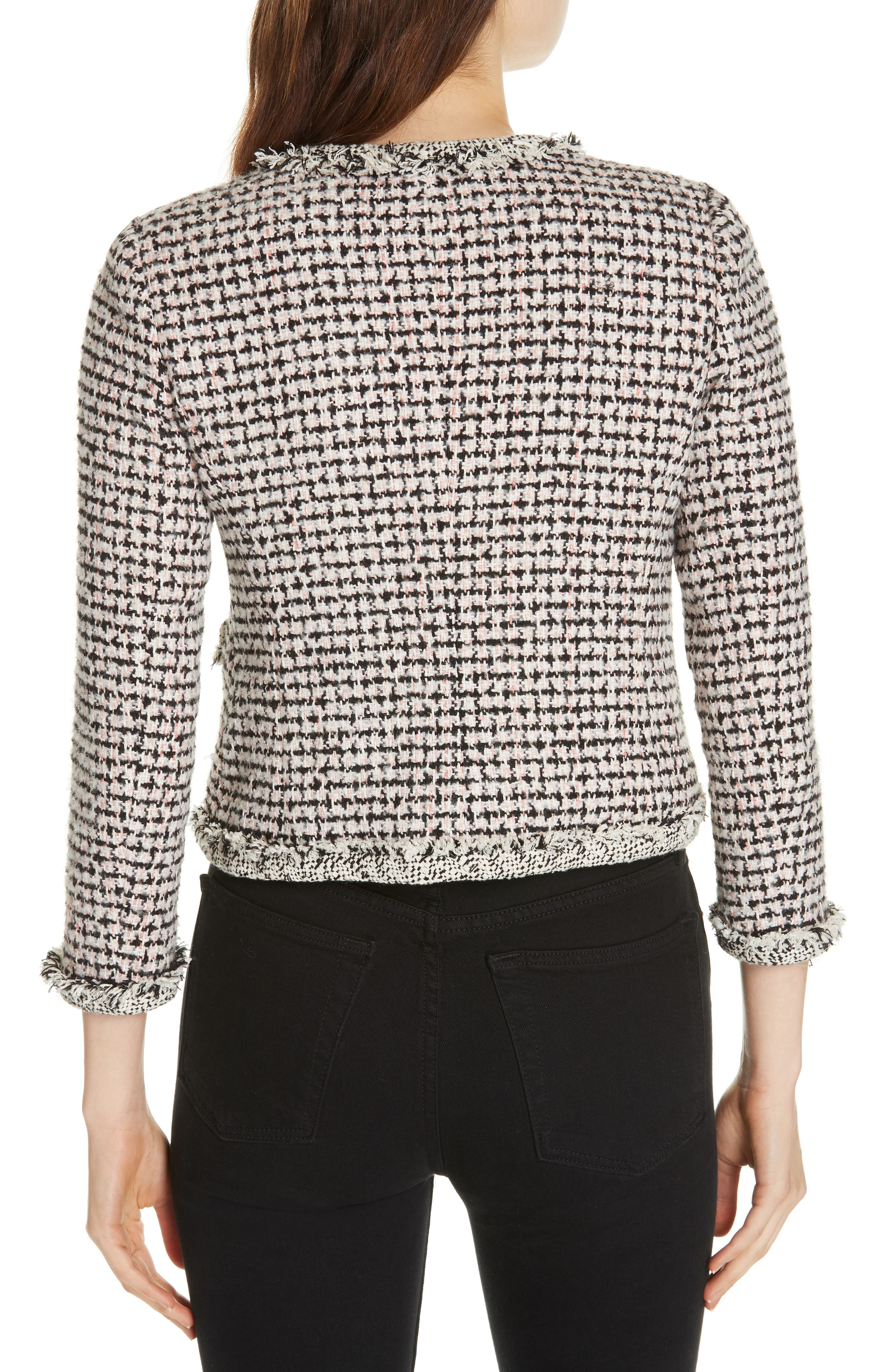 REBECCA TAYLOR, Houndstooth Tweed Jacket, Alternate thumbnail 2, color, BLACK/ PINK COMBO
