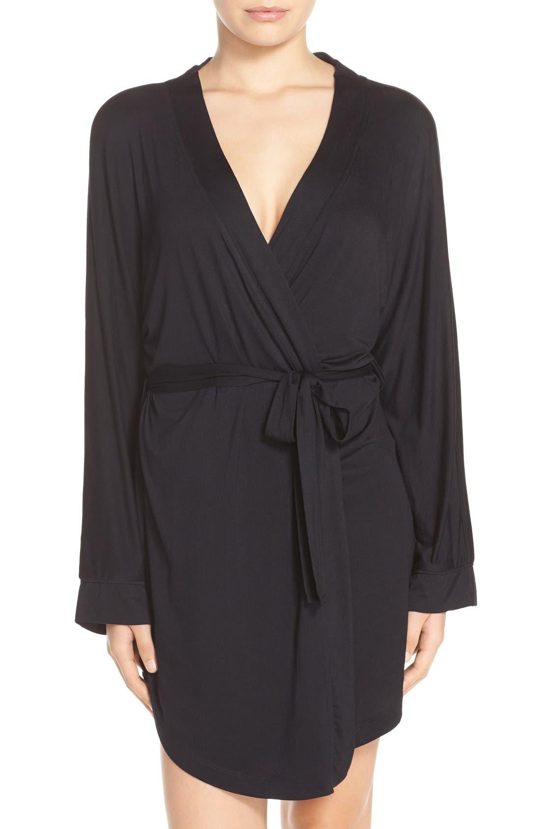 HONEYDEW INTIMATES, All American Jersey Robe, Main thumbnail 1, color, BLACK