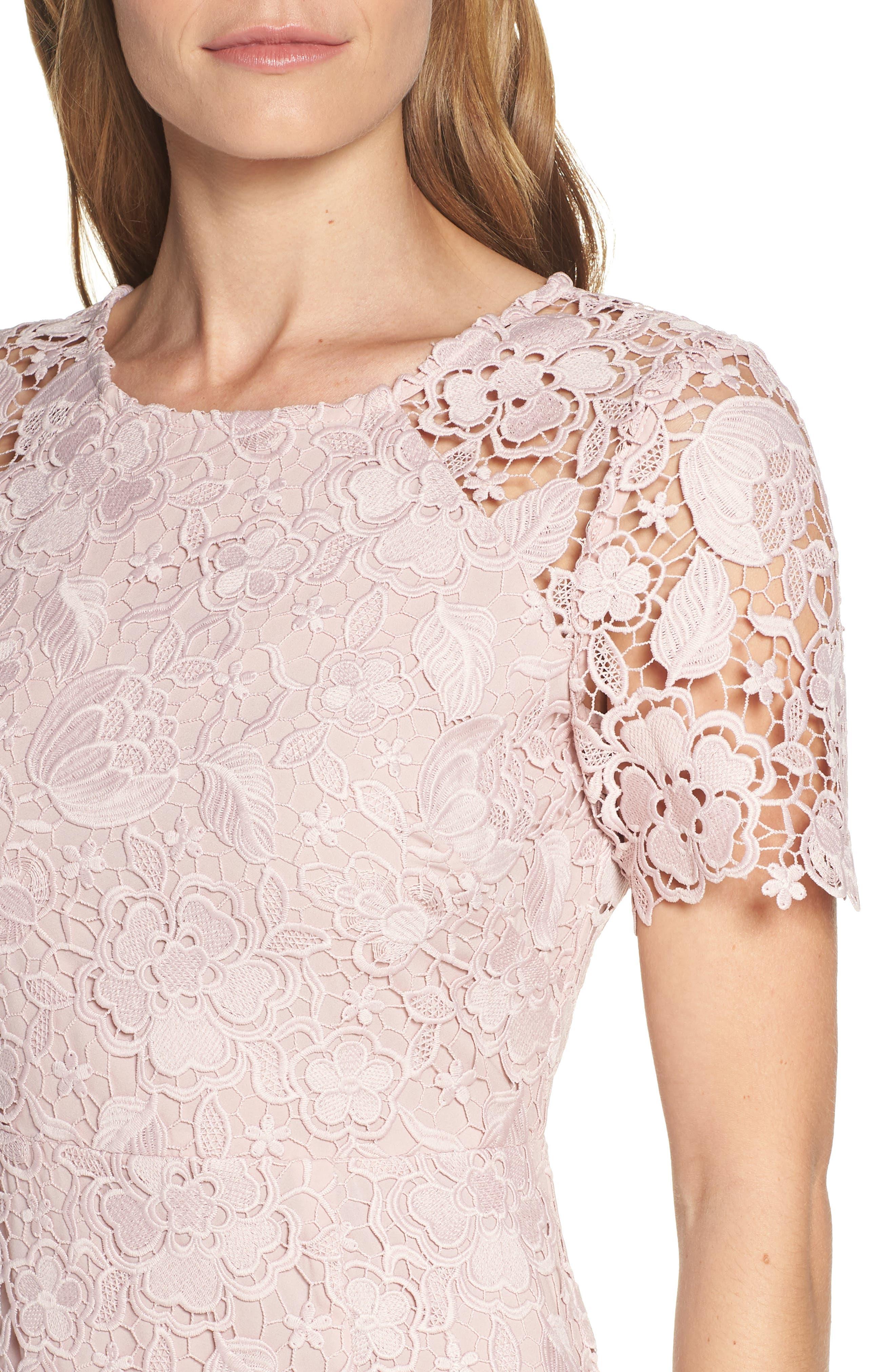ELIZA J, Embroidered Lace Sheath Dress, Alternate thumbnail 5, color, NUDE