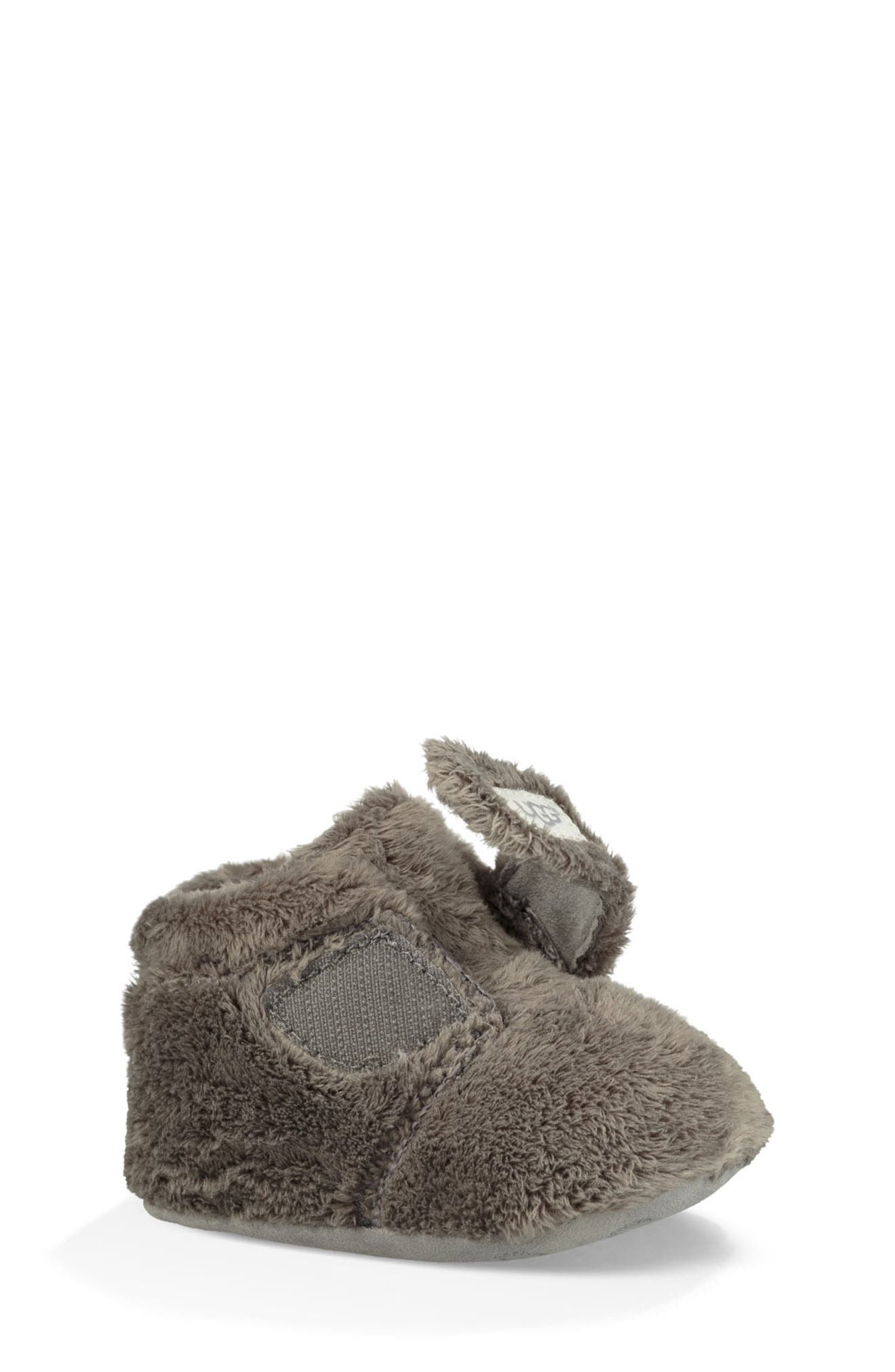 UGG<SUP>®</SUP>, Bixbee Booties & Lovey Blanket Set, Alternate thumbnail 2, color, CHARCOAL