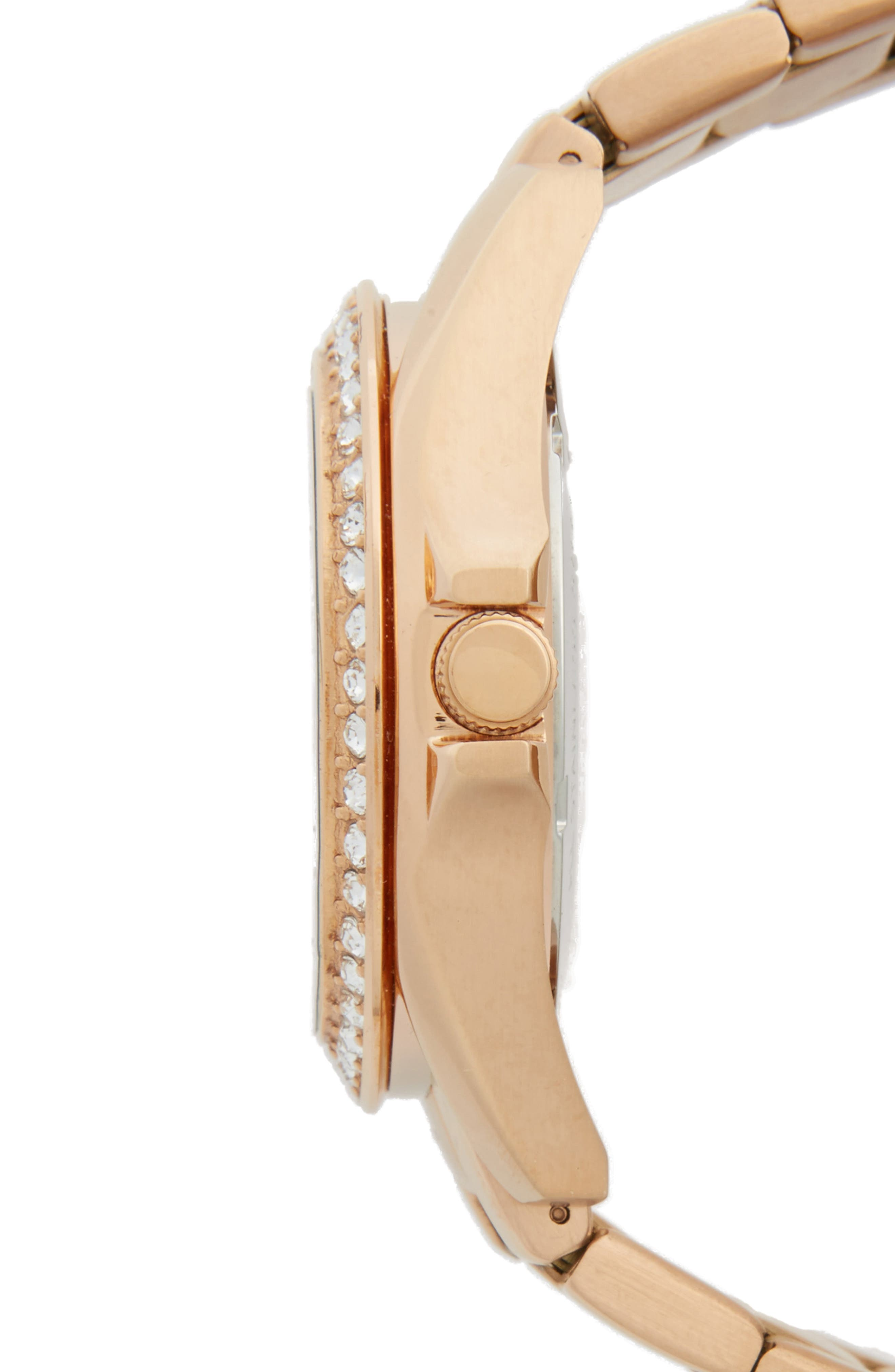 FOSSIL, 'Riley' Round Crystal Bezel Bracelet Watch, 38mm, Alternate thumbnail 3, color, ROSE GOLD