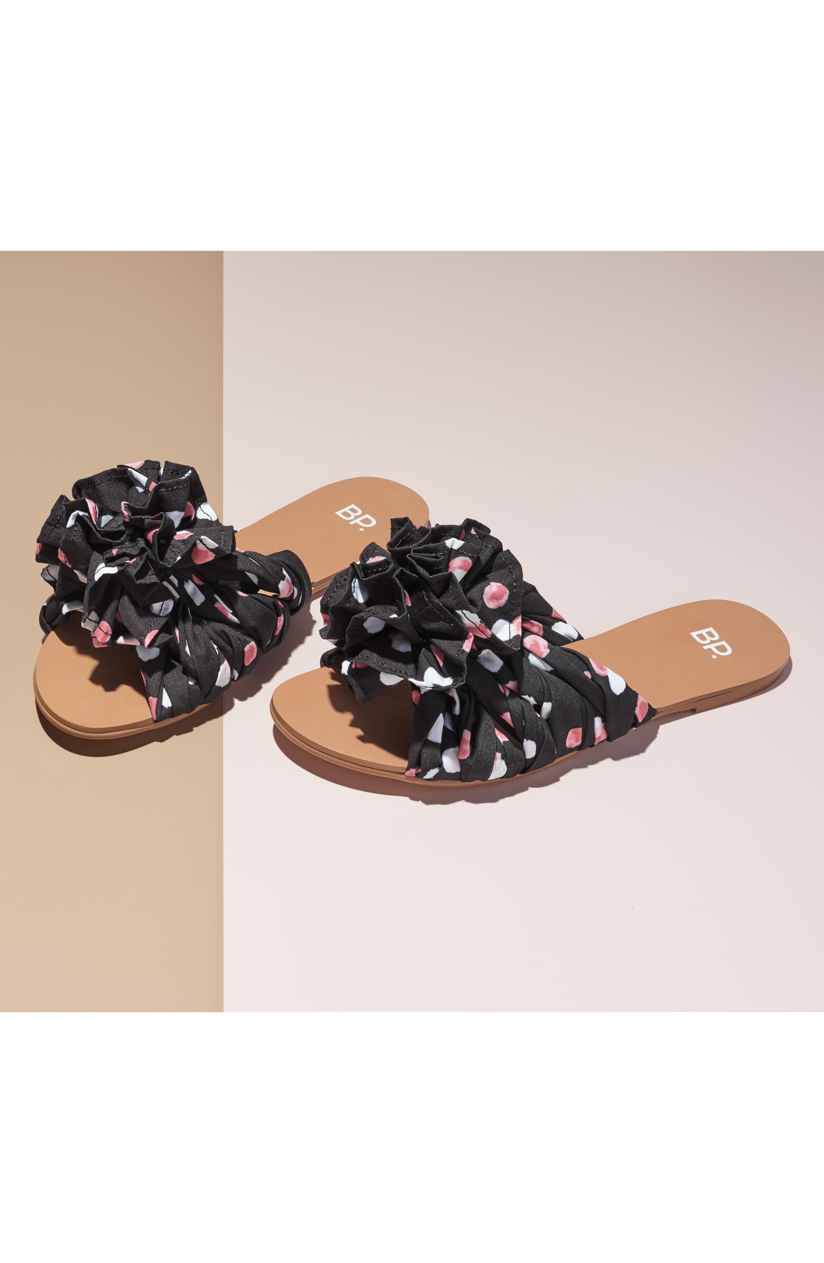 BP., Ruby Slide Sandal, Alternate thumbnail 7, color, BLACK POLKA DOT FABRIC