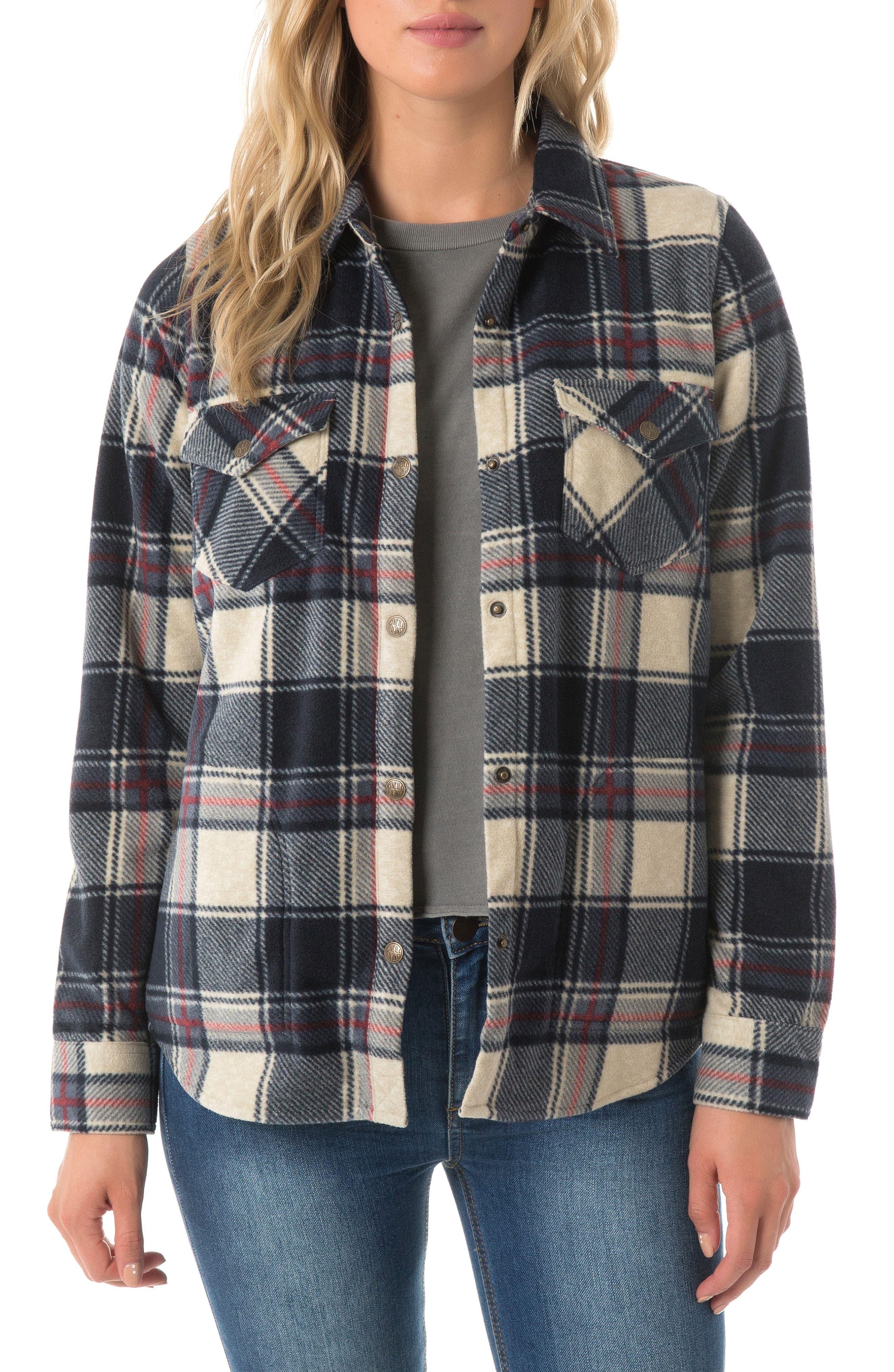 O'NEILL, Zuma Plaid Fleece Flannel Shirt, Main thumbnail 1, color, 021