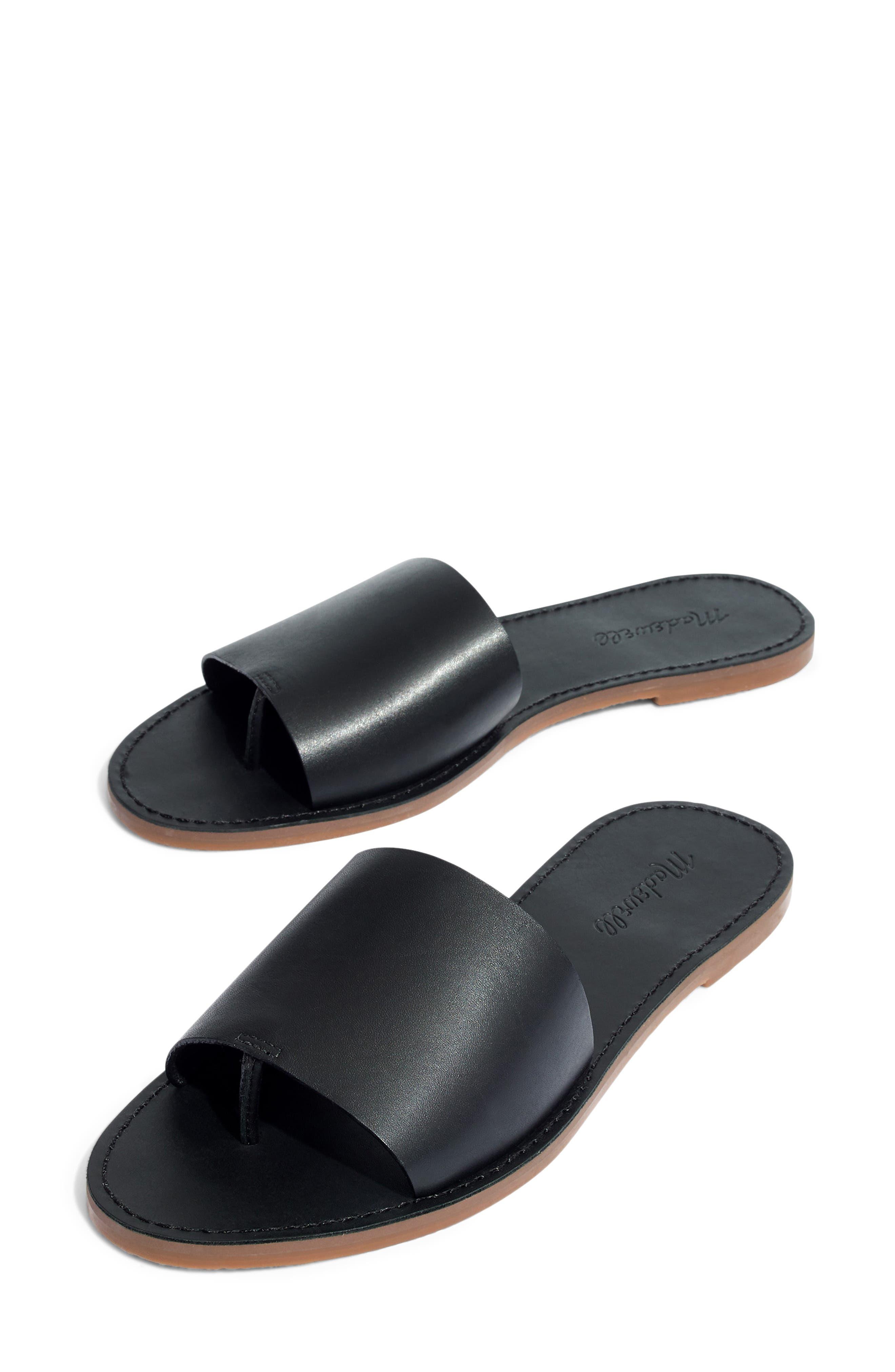 MADEWELL, Boardwalk Post Slide Sandal, Main thumbnail 1, color, TRUE BLACK LEATHER