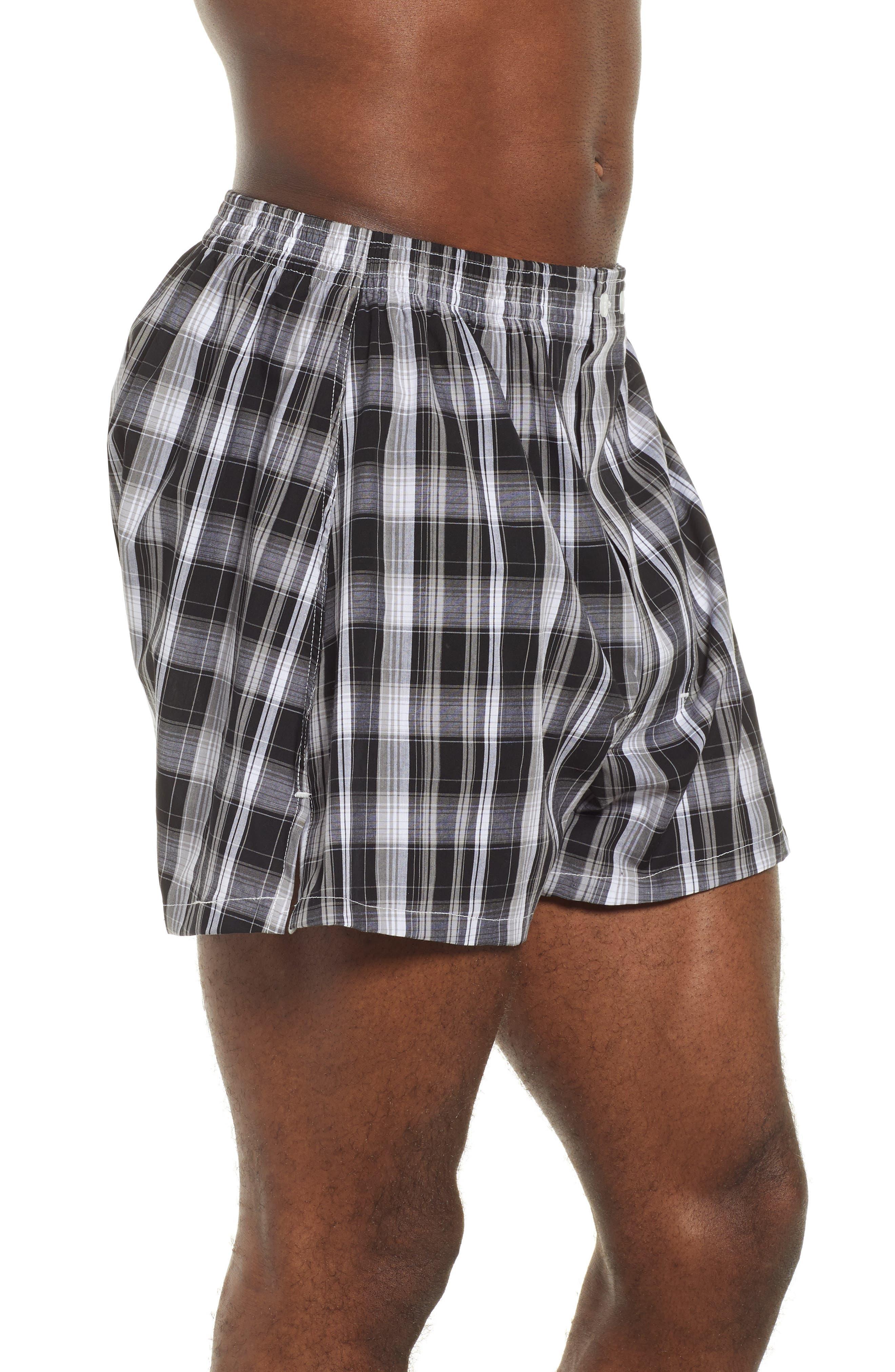 NORDSTROM MEN'S SHOP, 3-Pack Classic Fit Boxers, Alternate thumbnail 4, color, BLACK- WHITE PLAID PACK