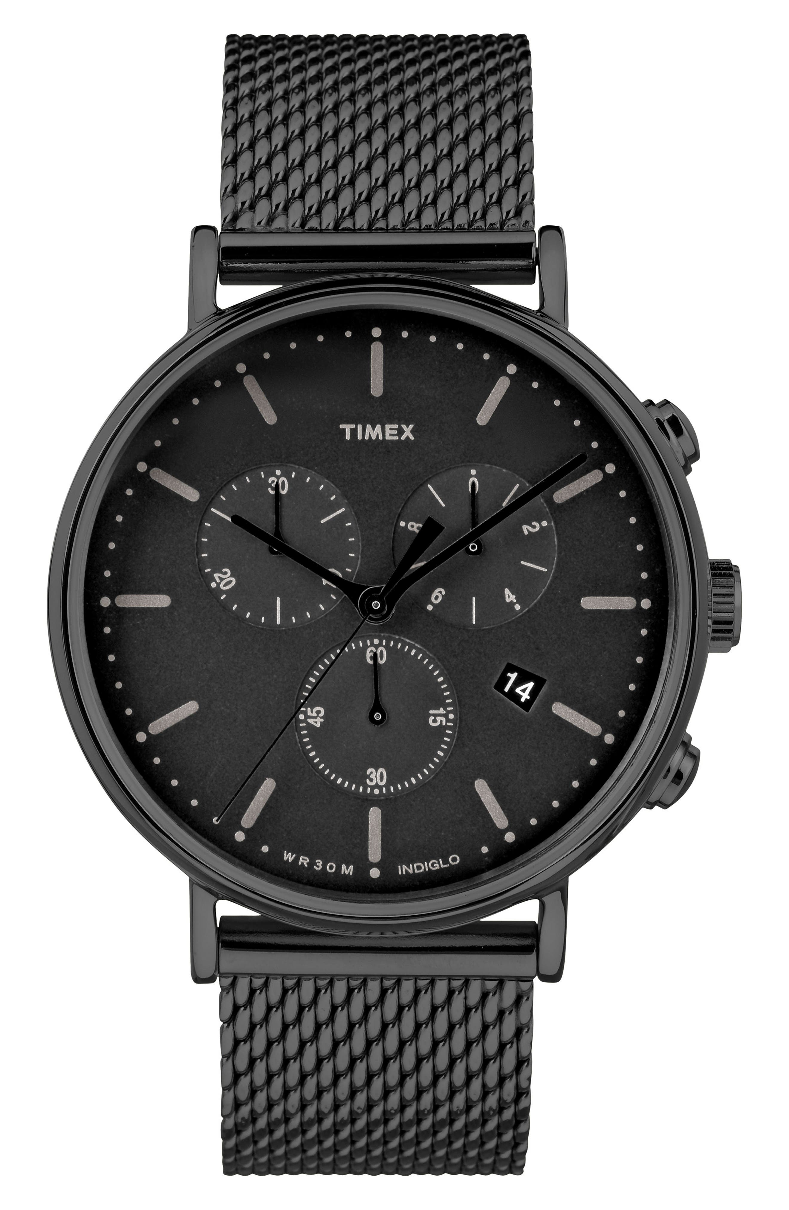 TIMEX<SUP>®</SUP>, Fairfield Chronograph Mesh Strap Watch, 41mm, Main thumbnail 1, color, BLACK