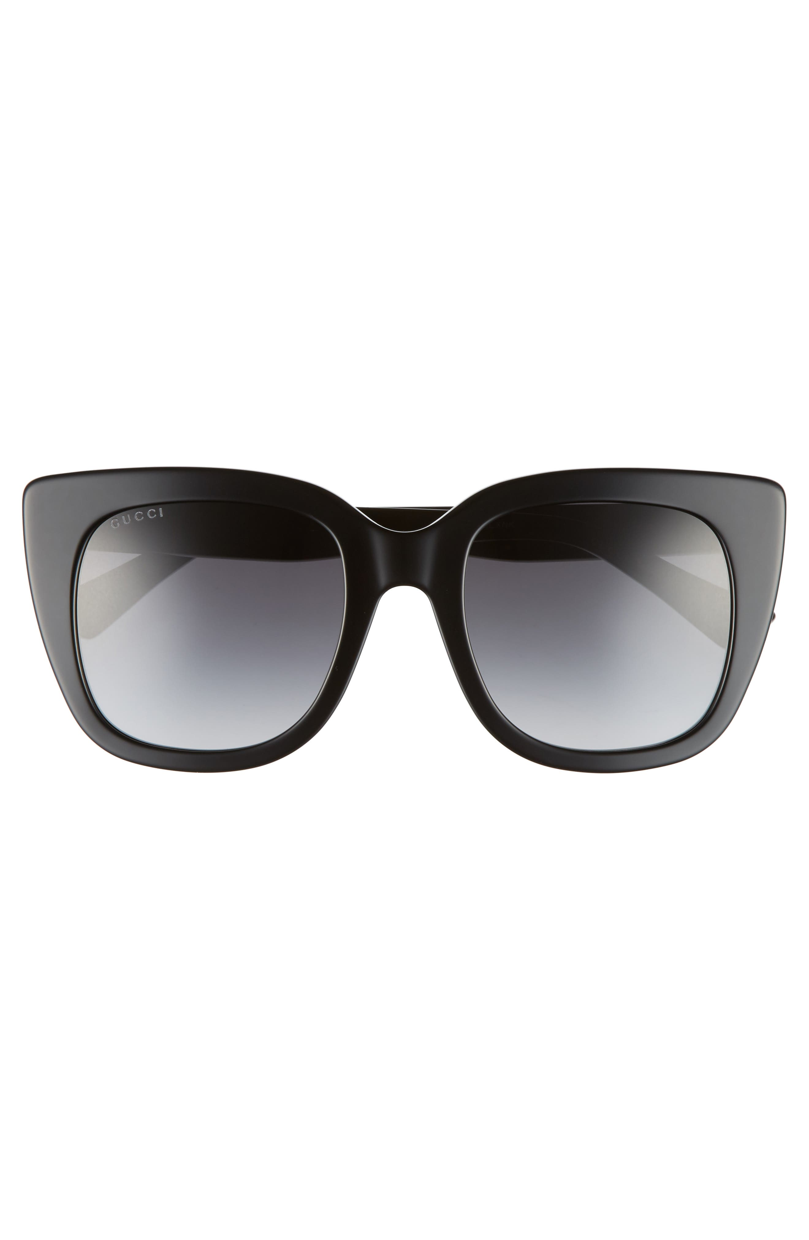 GUCCI, 51mm Cat Eye Sunglasses, Alternate thumbnail 3, color, BLACK