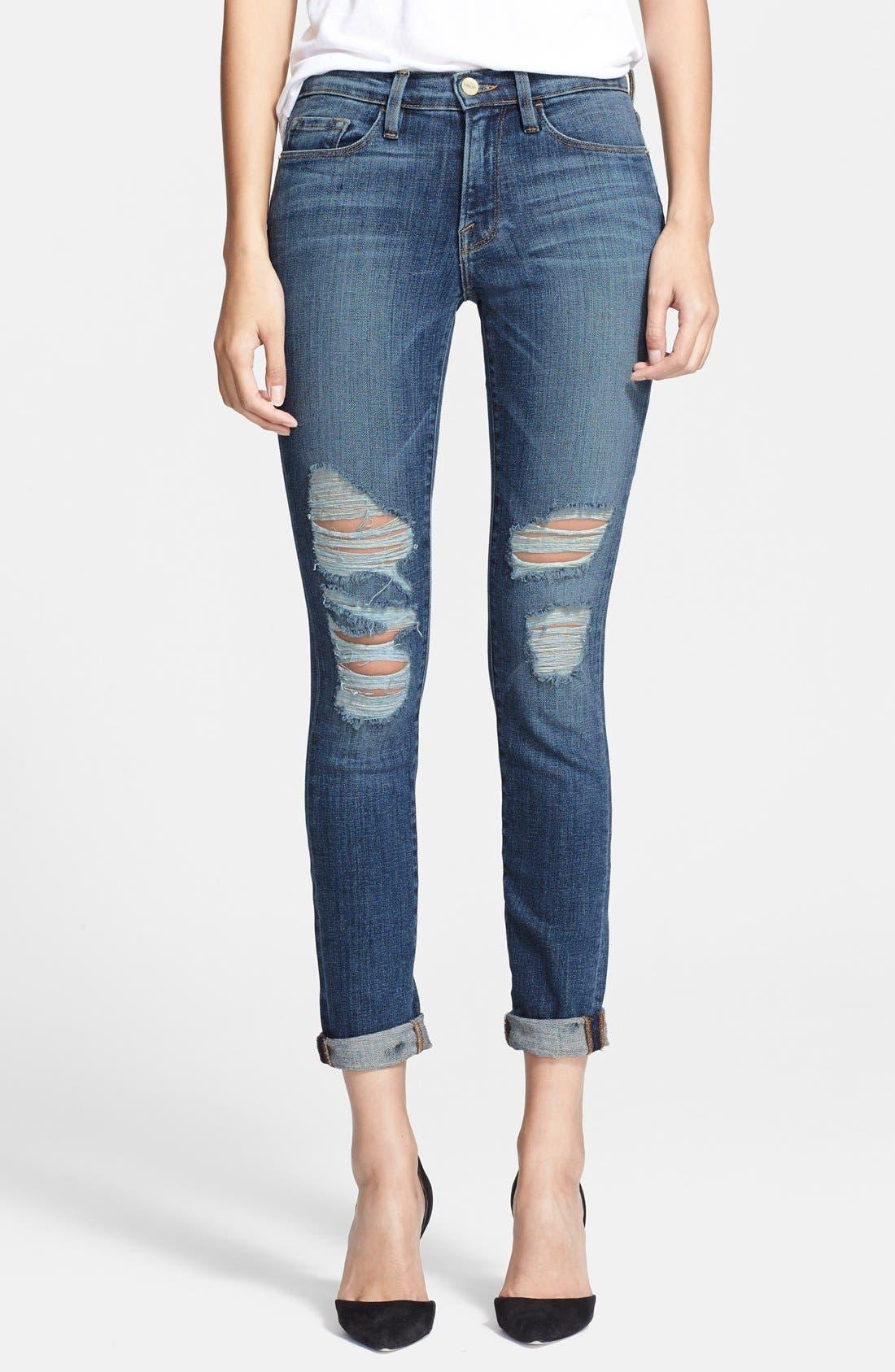 FRAME, Denim 'Le Skinny de Jeanne' Destroyed Jeans, Main thumbnail 1, color, 420