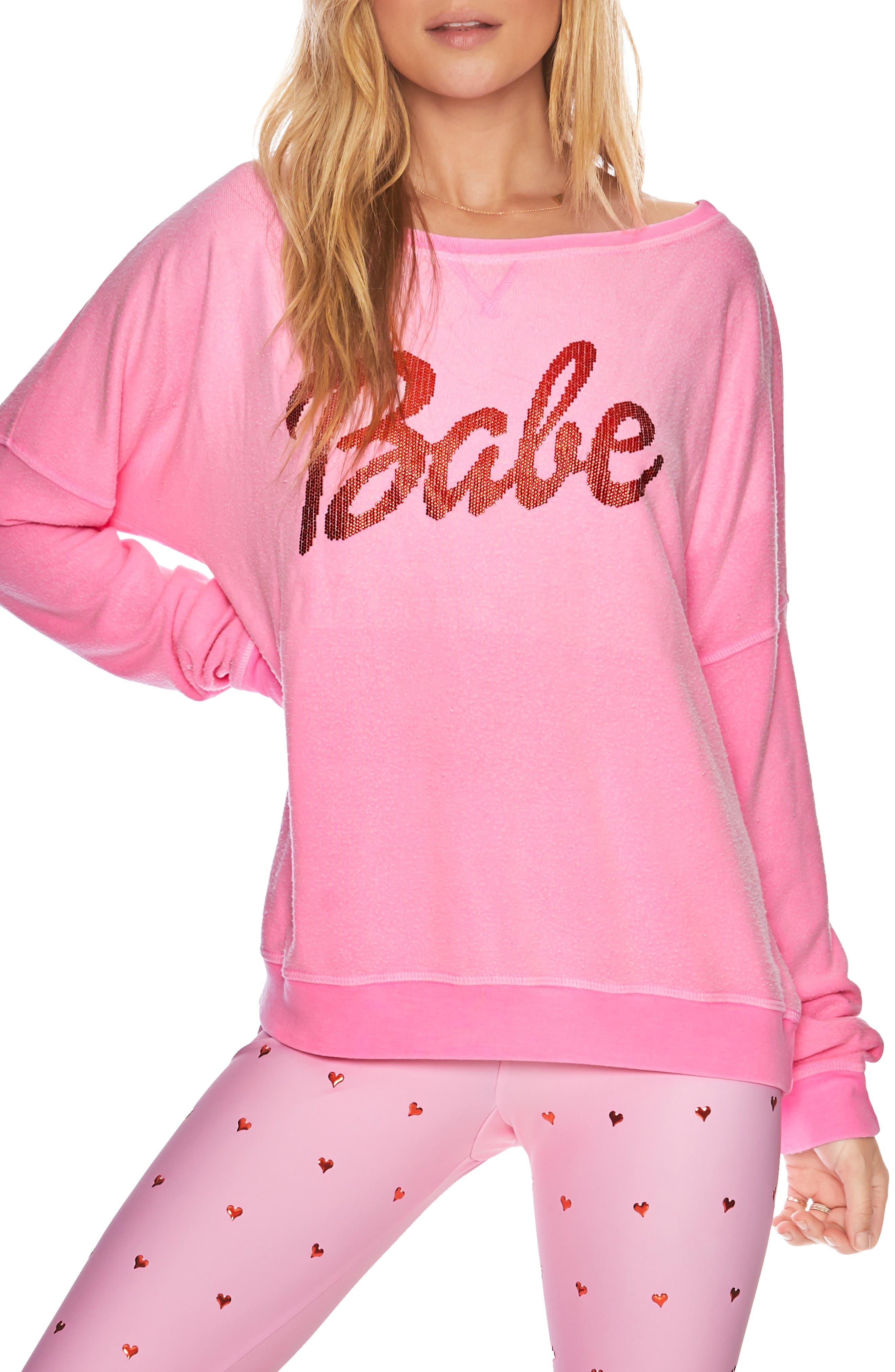 BEACH RIOT, Babe Sweatshirt, Main thumbnail 1, color, PINK