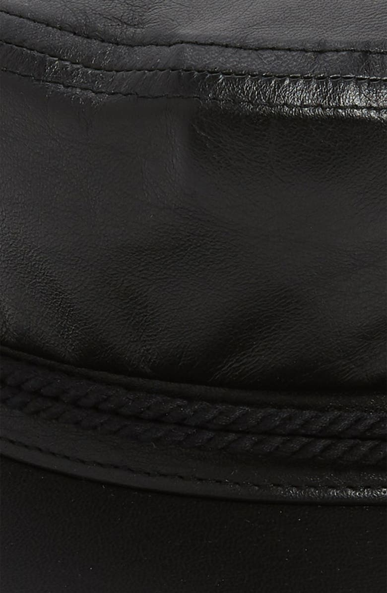 Saint Laurent Leather Baker Boy Hat - Black