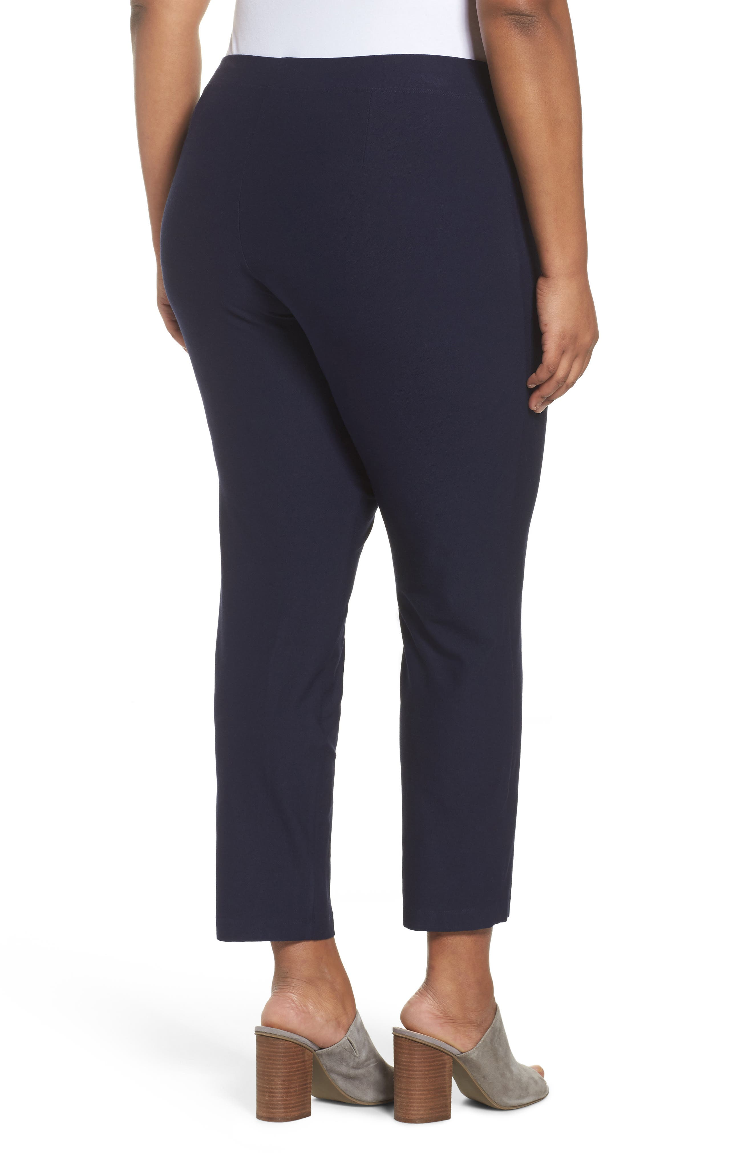 EILEEN FISHER, Crepe Ankle Pants, Alternate thumbnail 2, color, MIDNIGHT