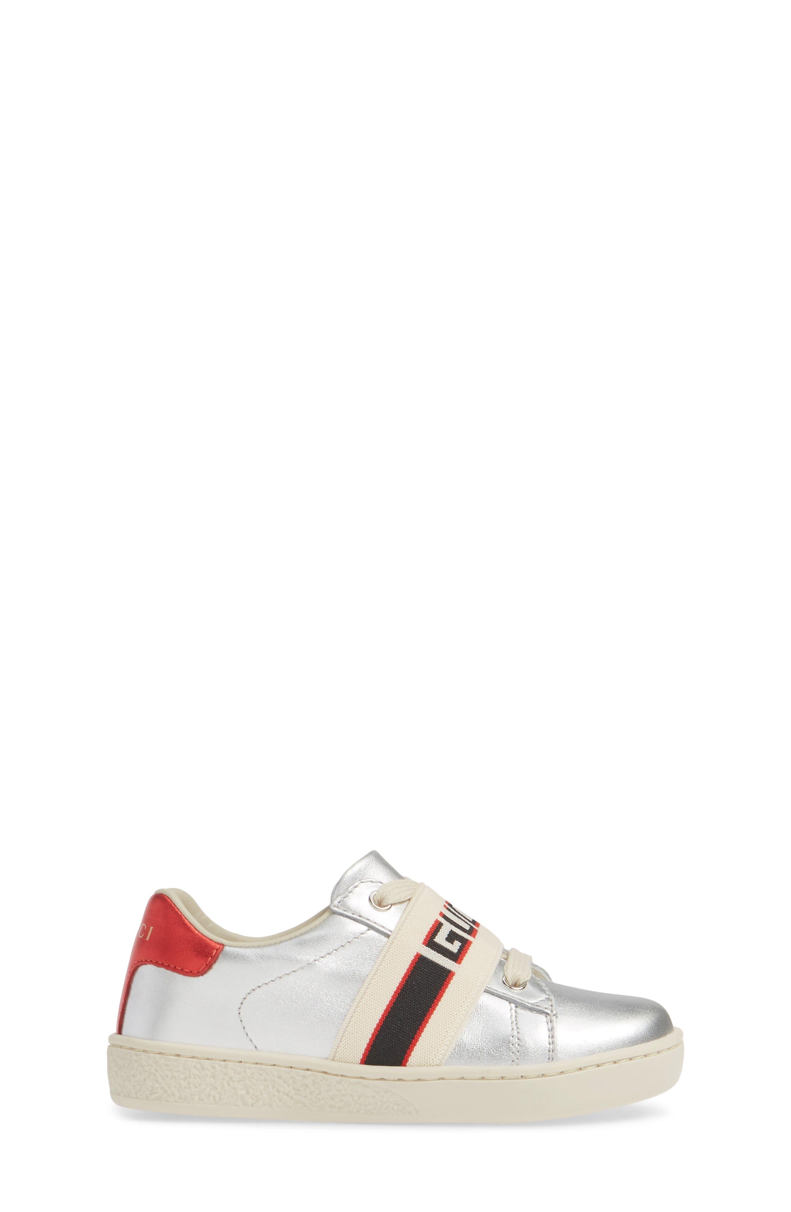 GUCCI, New Ace Stripe Sneaker, Alternate thumbnail 3, color, SILVER