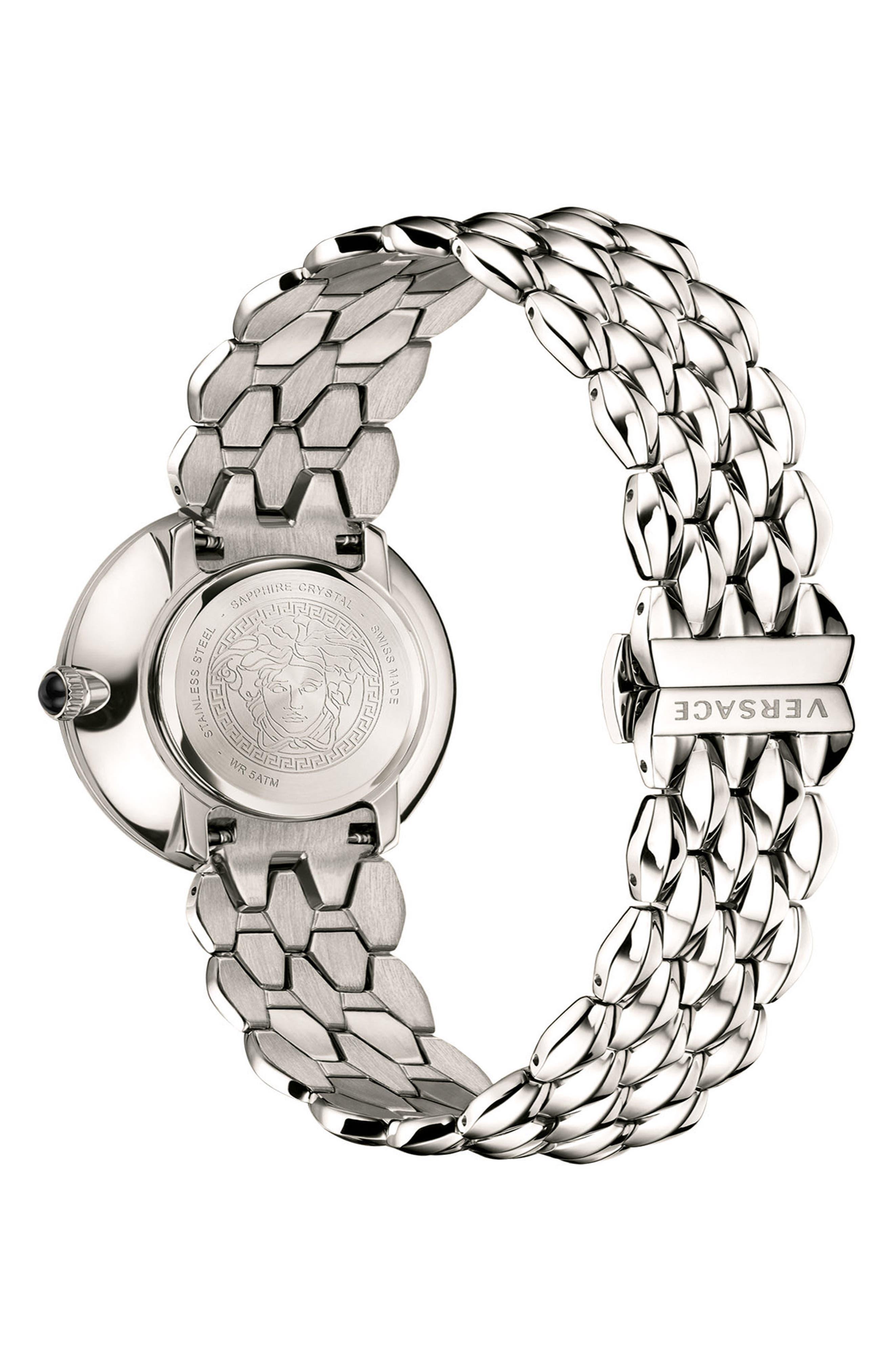VERSACE, V-Flare Bracelet Watch, 28mm, Alternate thumbnail 2, color, SILVER/ BLACK/ SILVER