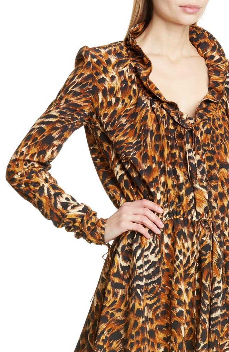 6a0cd7c13ce Saint Laurent Leopard Print Ruffle Neck Silk Minidress In 9664 Fauve ...