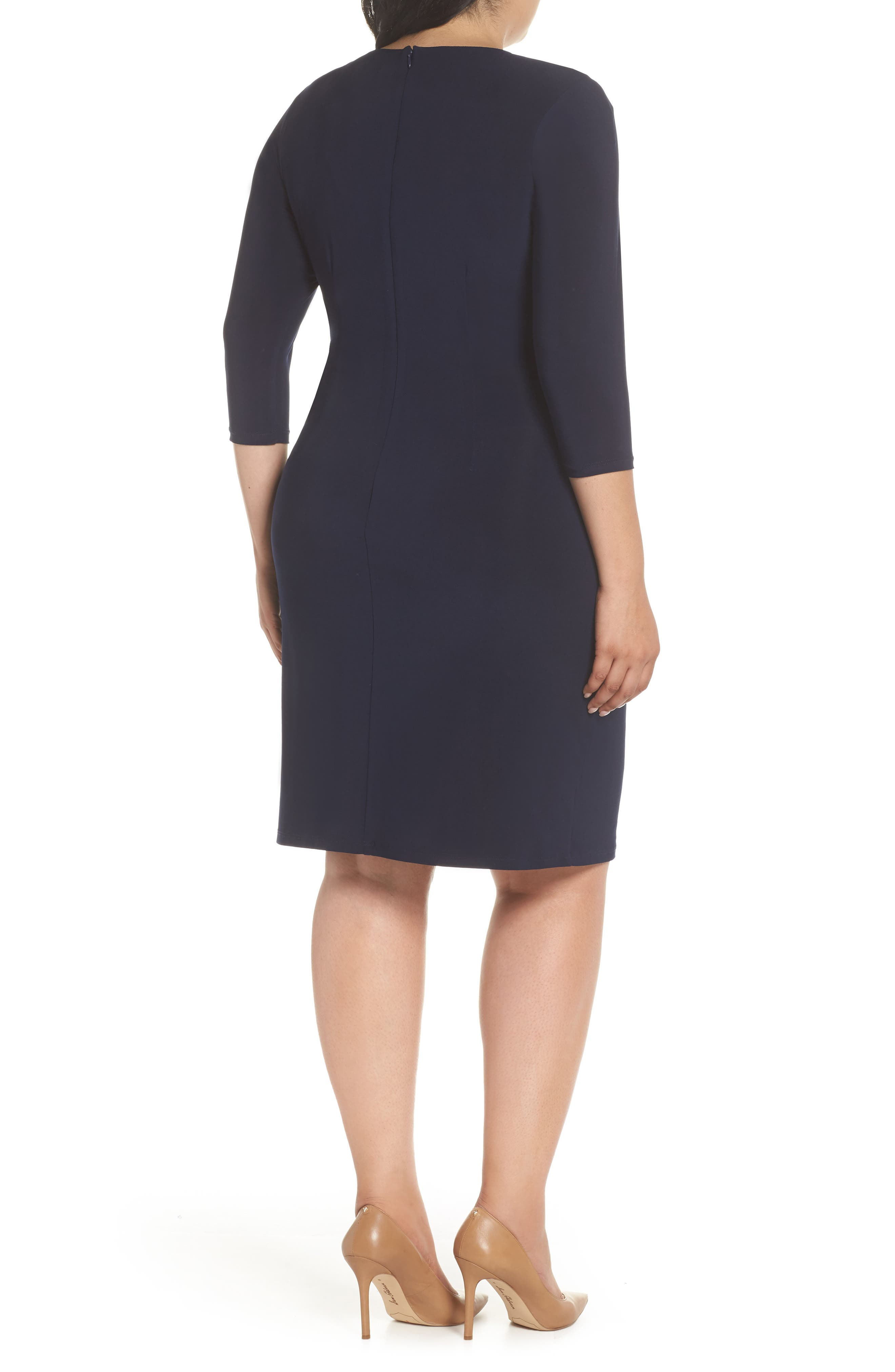 ELIZA J, Ruched Waist Sheath Dress, Alternate thumbnail 2, color, NAVY