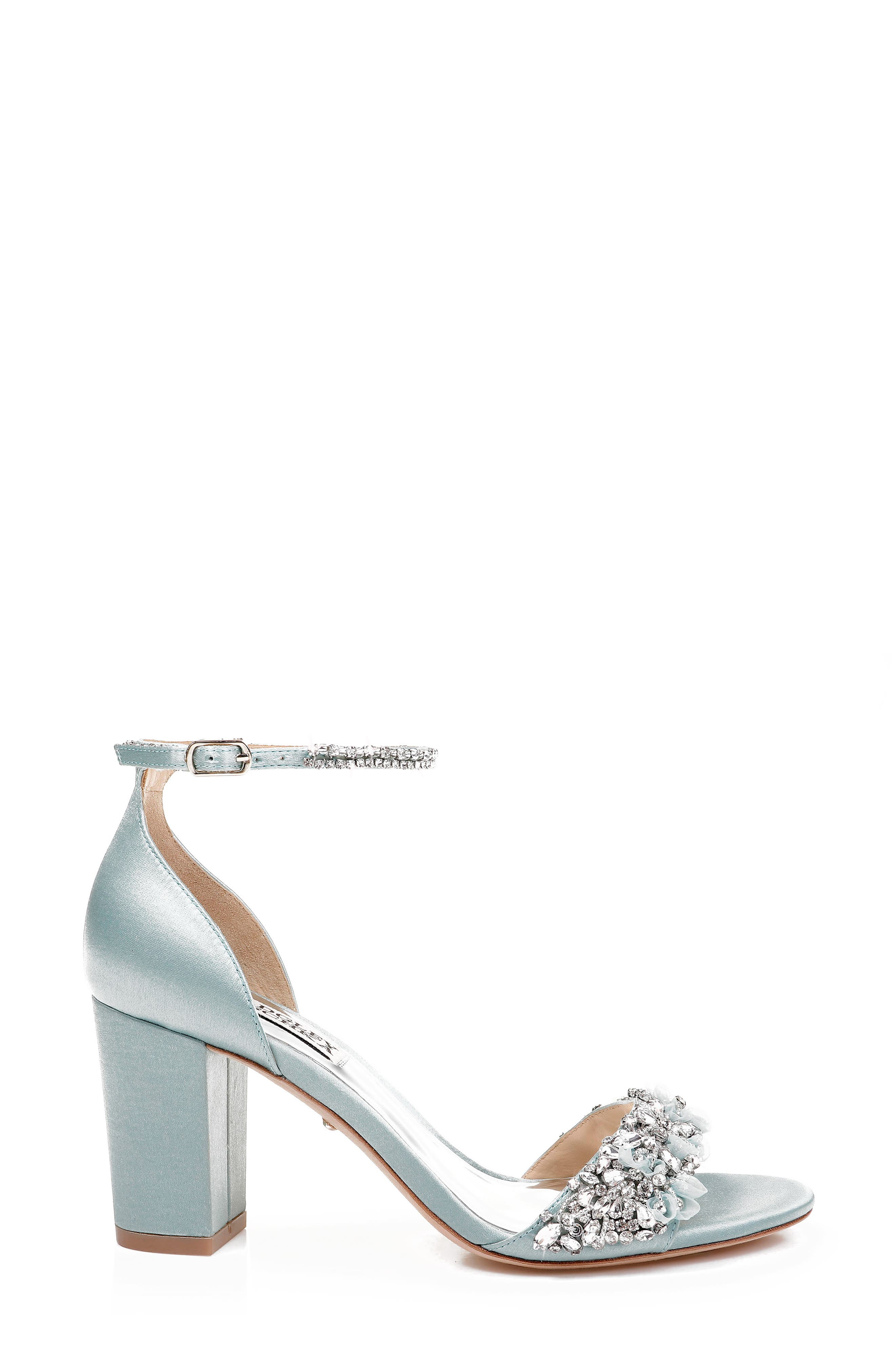 BADGLEY MISCHKA COLLECTION, Badgley Mischka Finesse Ankle Strap Sandal, Alternate thumbnail 2, color, BLUE RADIANCE SATIN