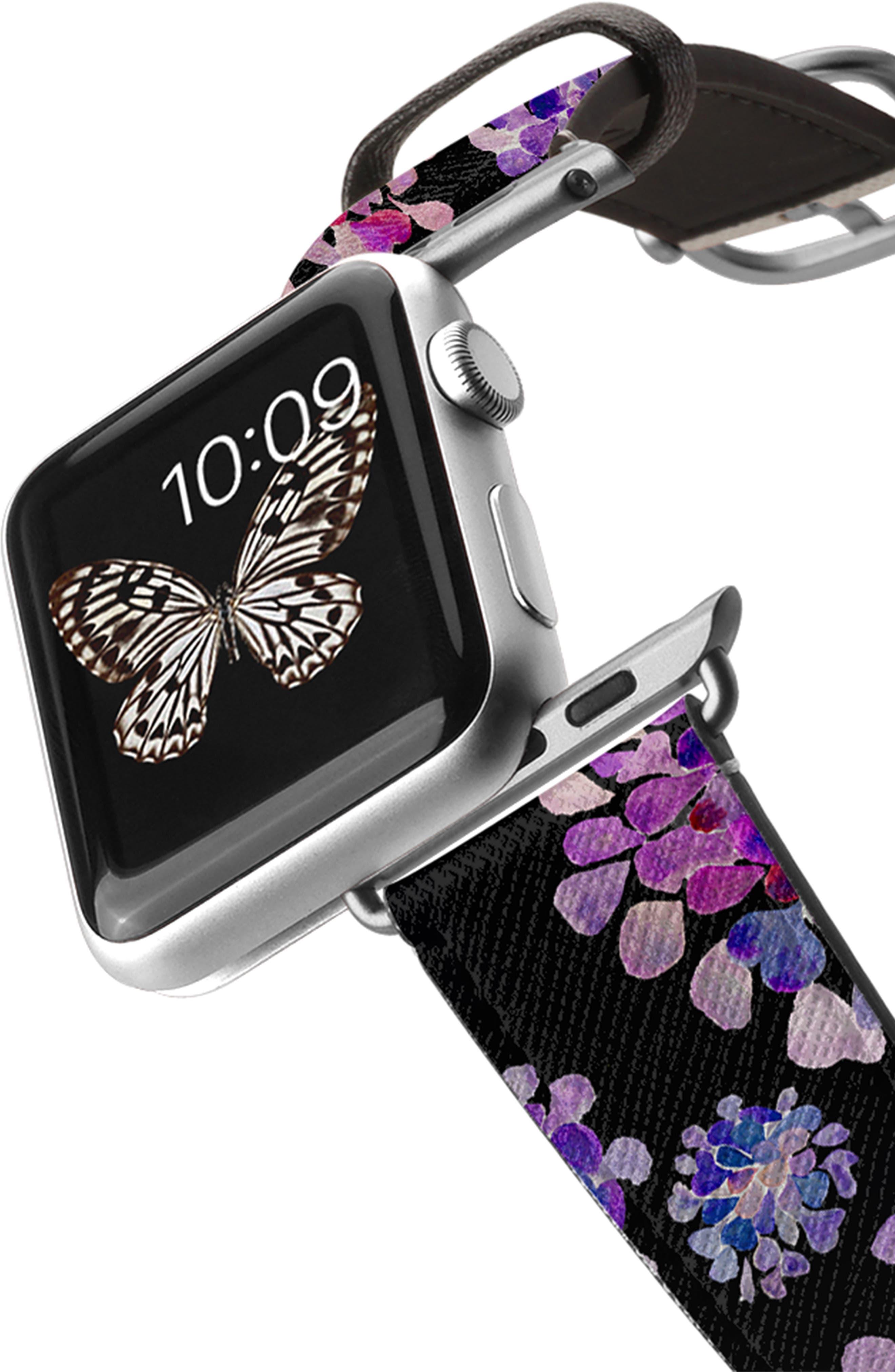 CASETIFY, Saffiano Purple Flowers Faux Leather Apple Watch Strap, Alternate thumbnail 2, color, BLACK/ SILVER