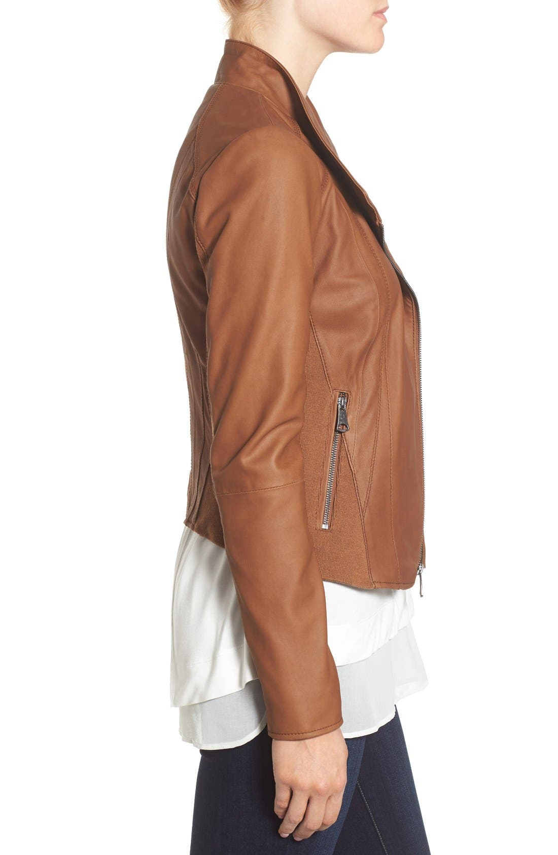 ANDREW MARC, Marc New York by Andrew Marc Felix Stand Collar Leather Jacket, Alternate thumbnail 10, color, WHISKEY