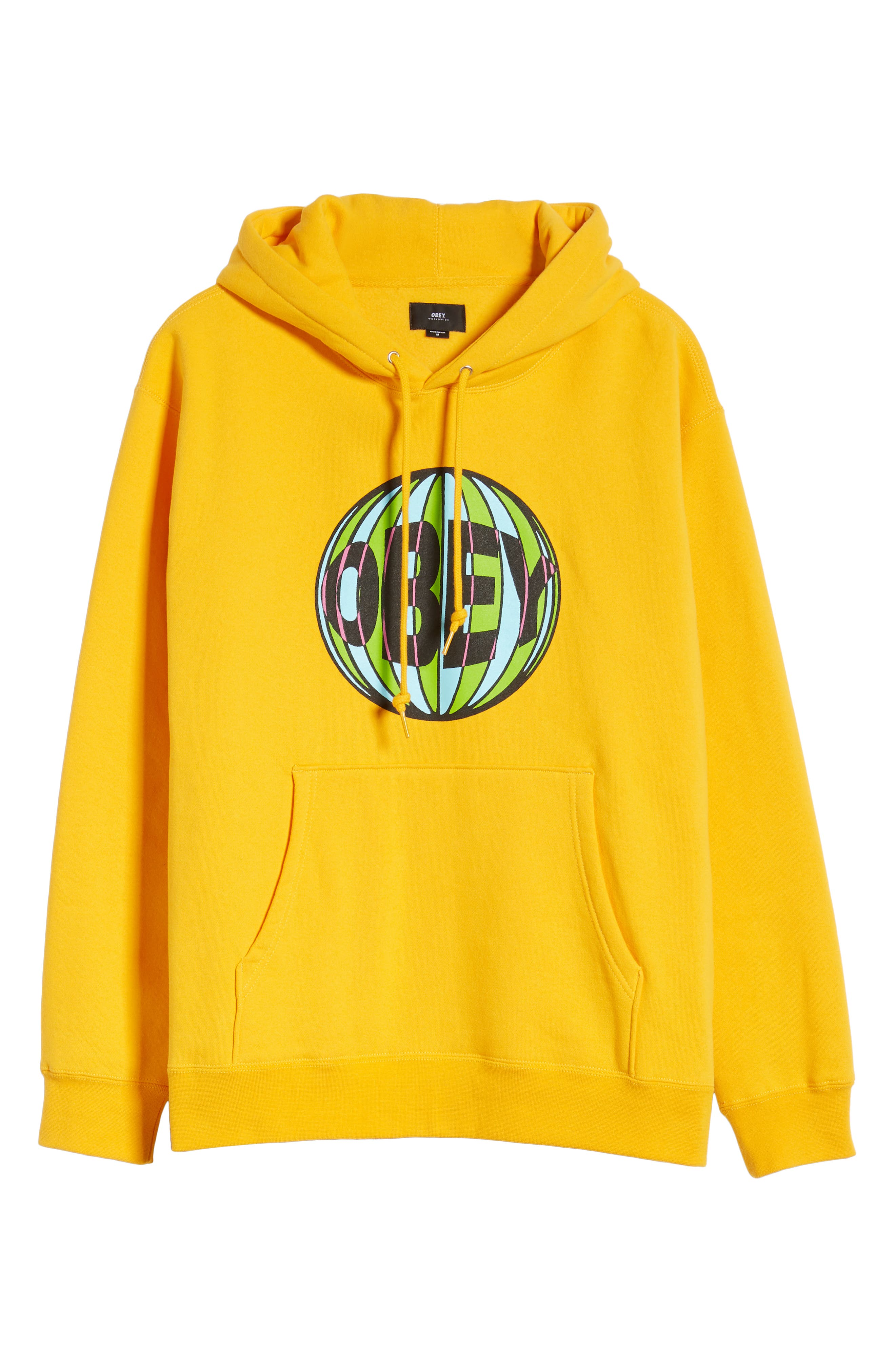 OBEY, Ball Hooded Sweatshirt, Alternate thumbnail 6, color, GOLD