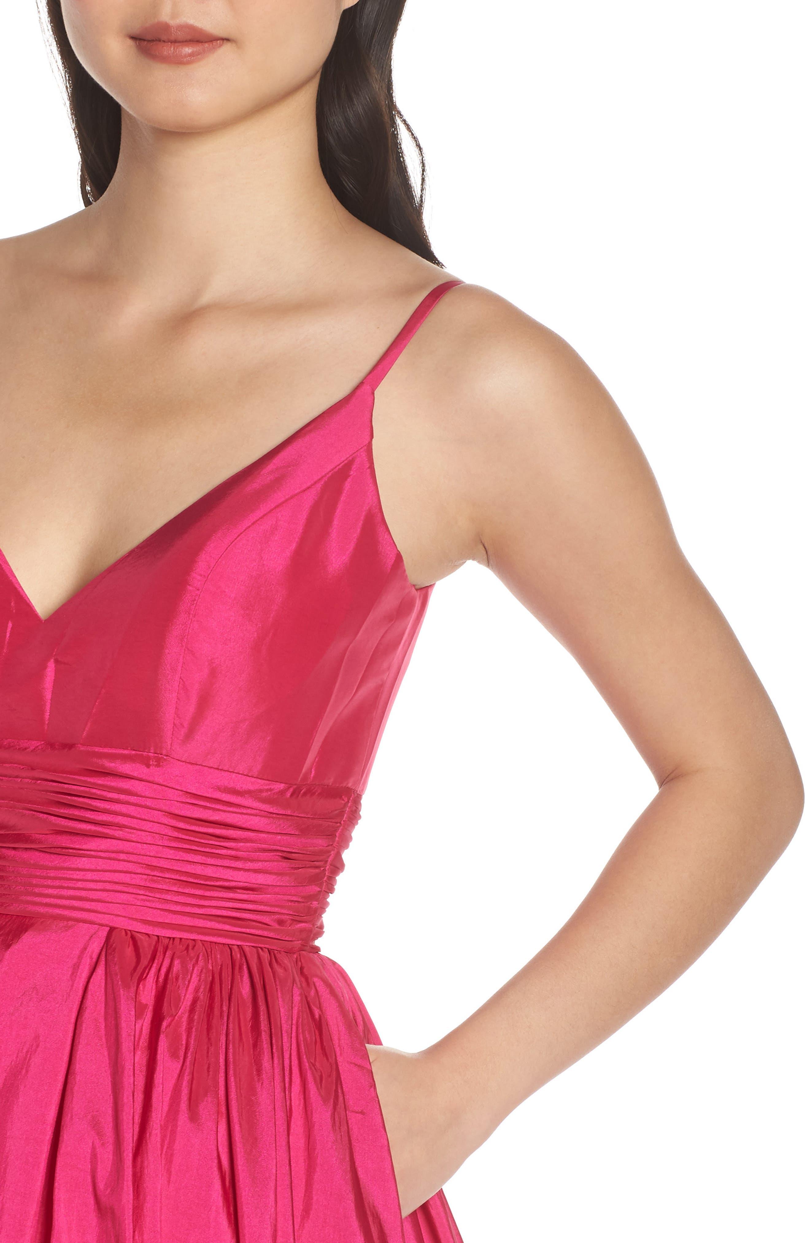 MAC DUGGAL, V-Neck Satin Evening Dress, Alternate thumbnail 5, color, MAGENTA