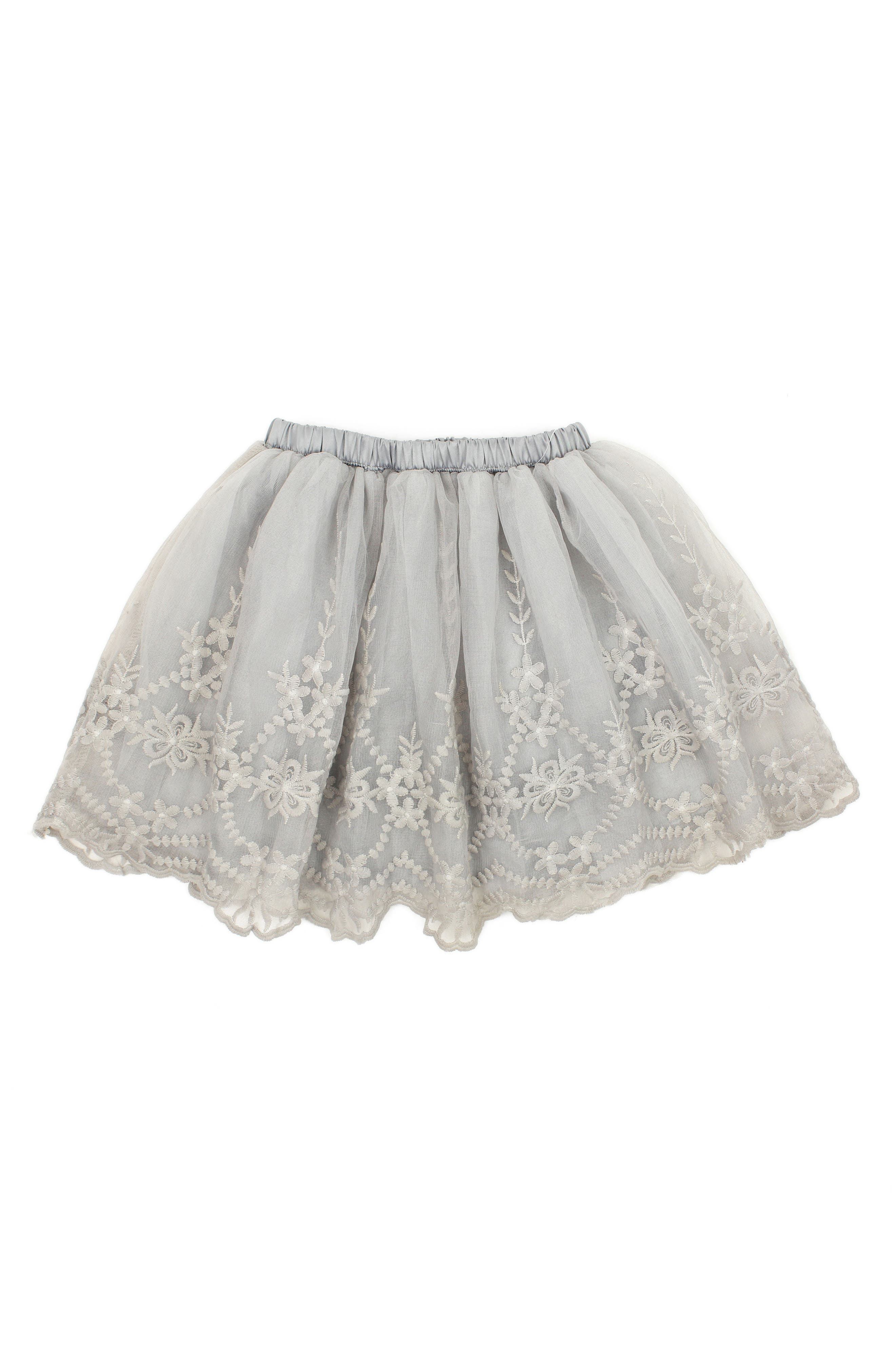 POPATU Embroidered Tulle Skirt, Main, color, GREY