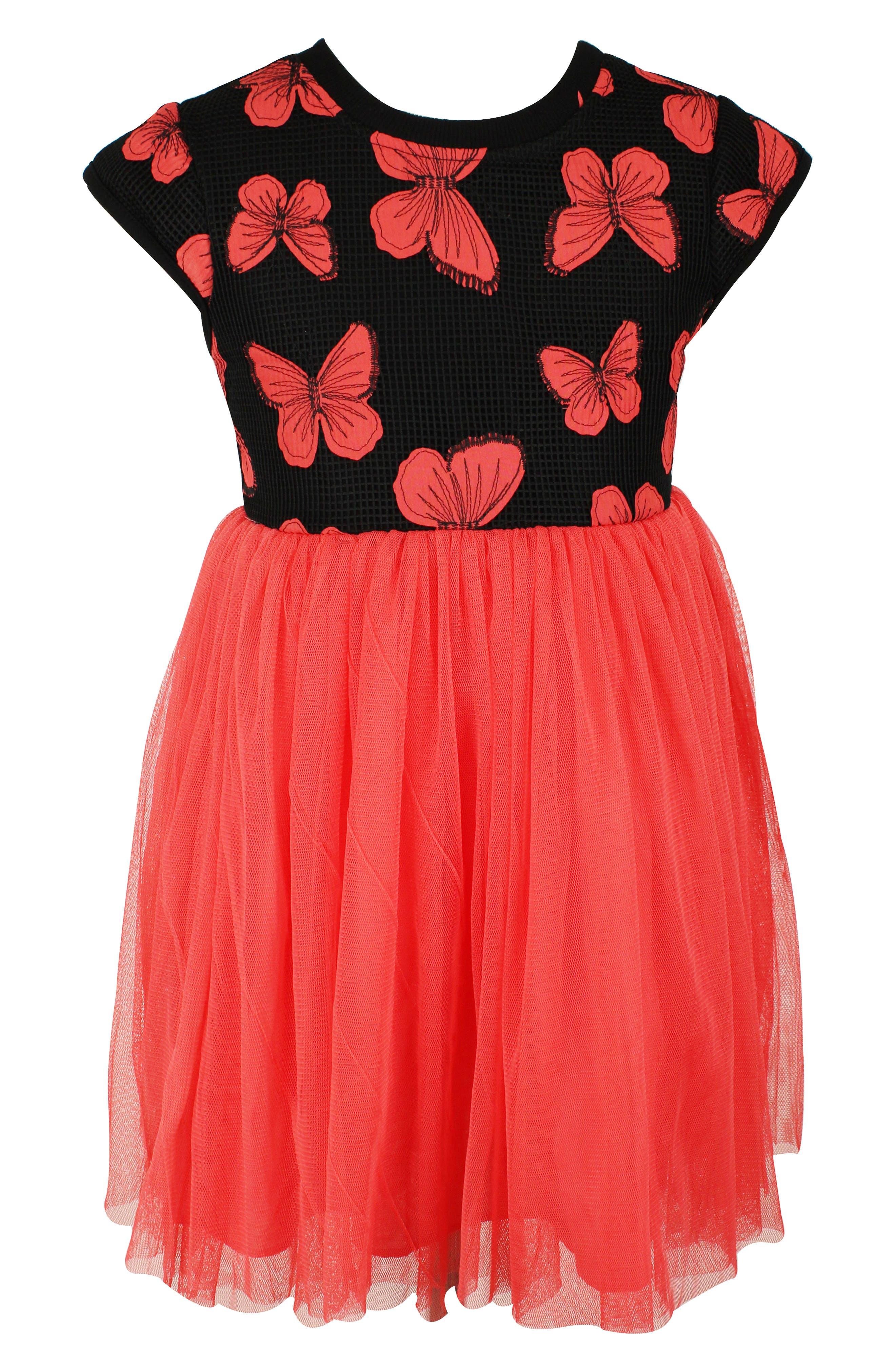 POPATU Butterfly Tutu Dress, Main, color, CORAL/ BLACK