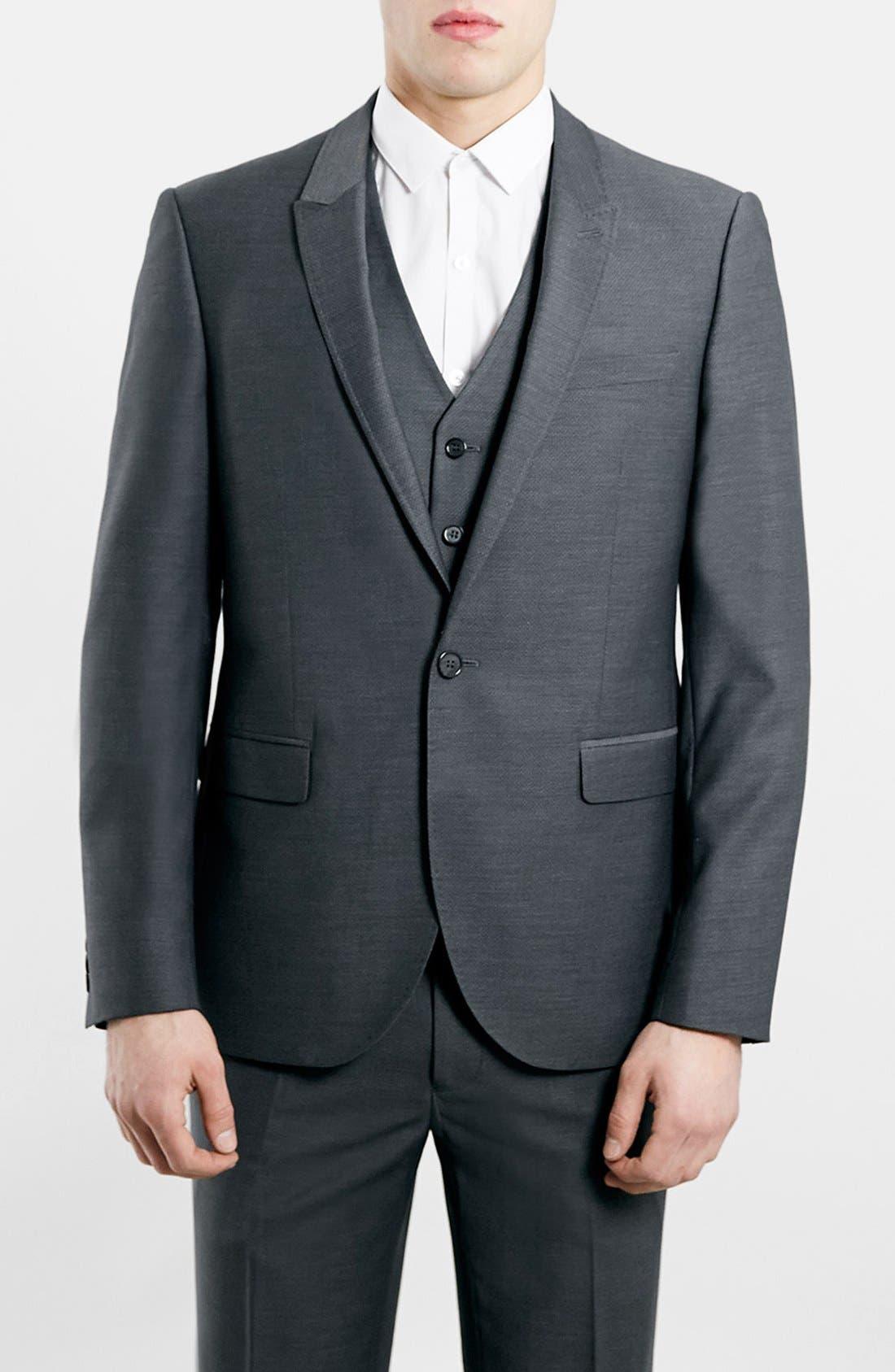 TOPMAN, Slim Fit Grey Diamond Texture Suit Jacket, Main thumbnail 1, color, 020