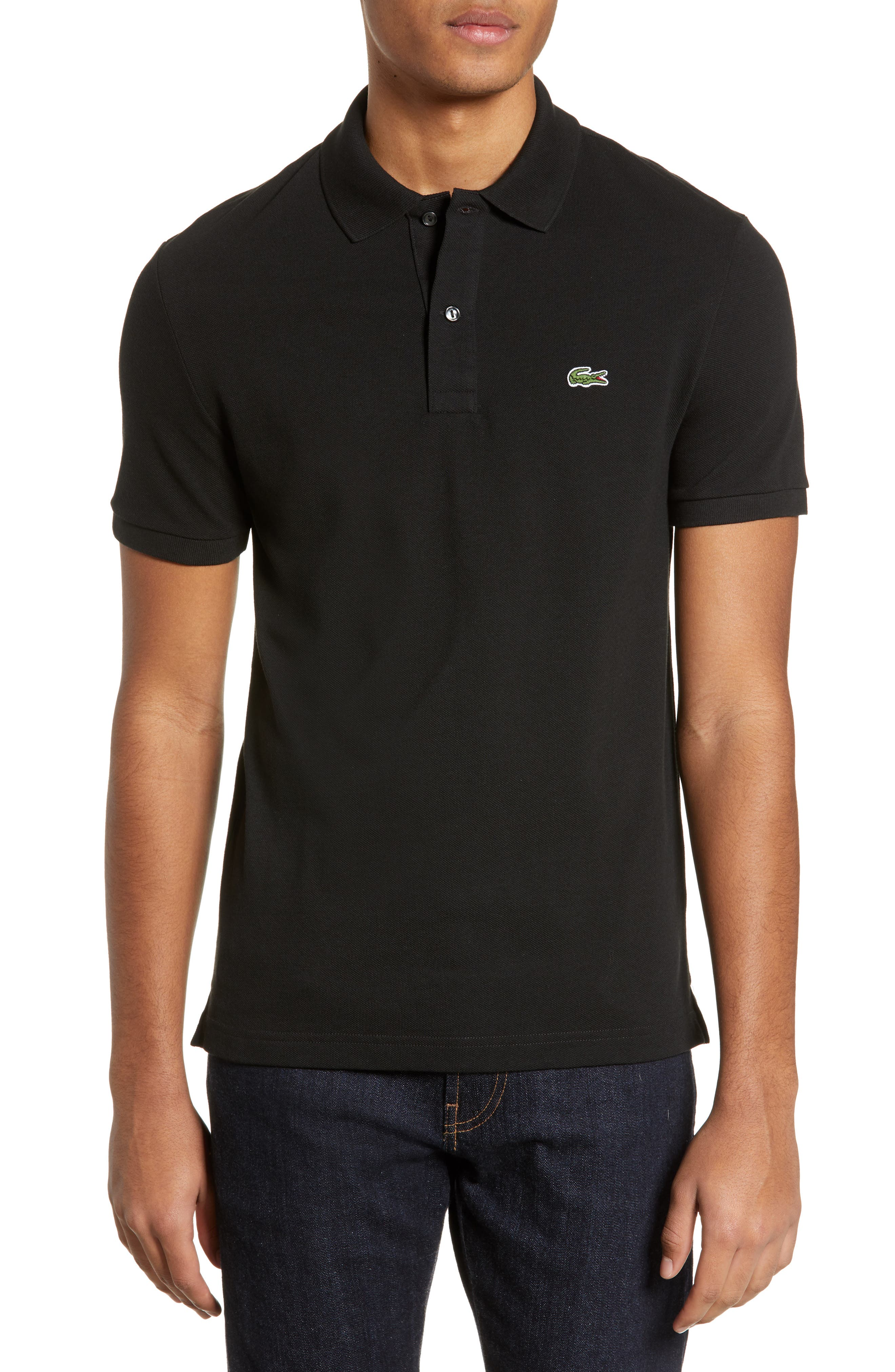 LACOSTE Slim Fit Piqué Polo, Main, color, BLACK