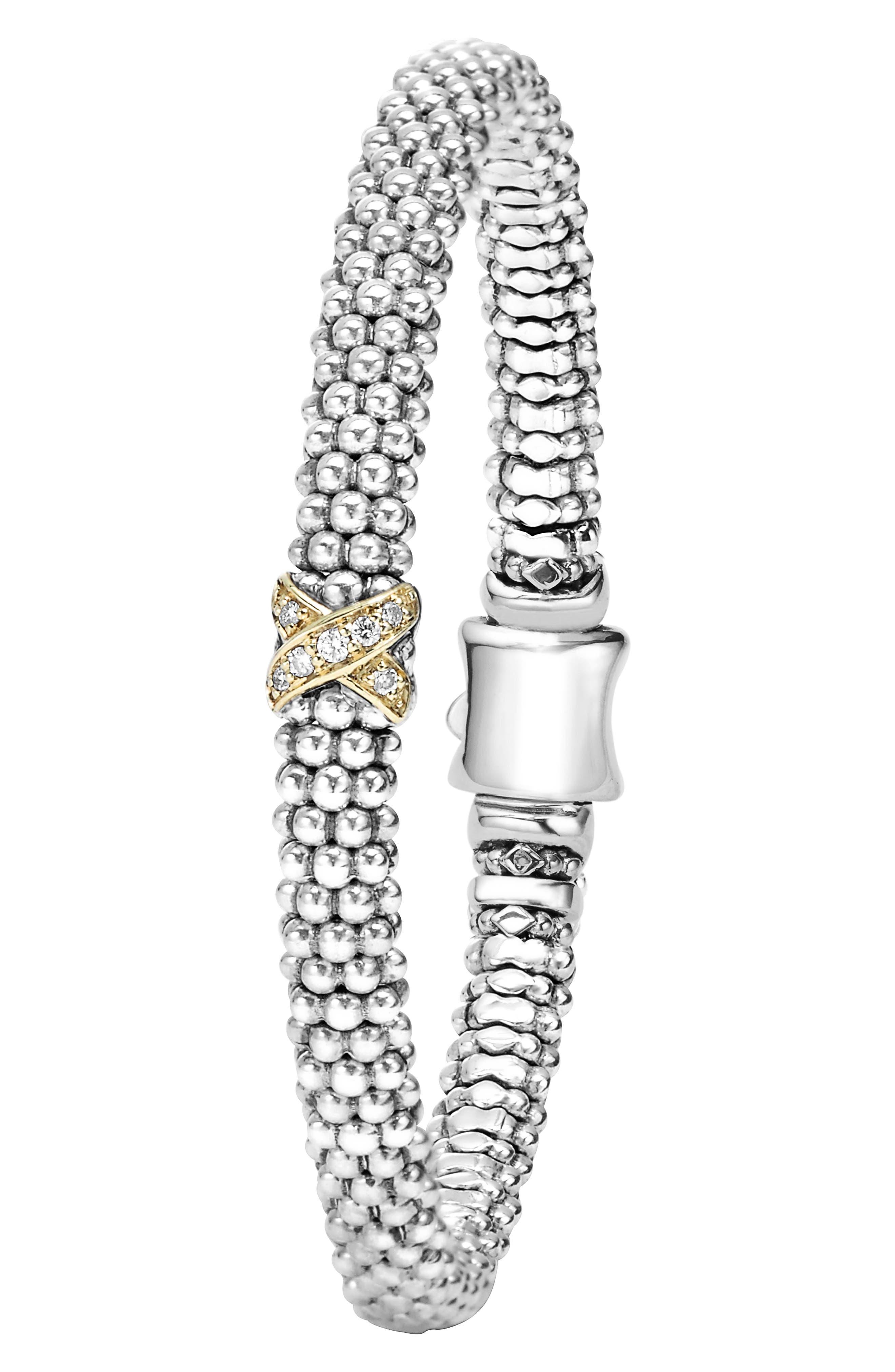 LAGOS, Caviar 'Signature Caviar' Diamond Rope Bracelet, Alternate thumbnail 3, color, STERLING SILVER/ GOLD