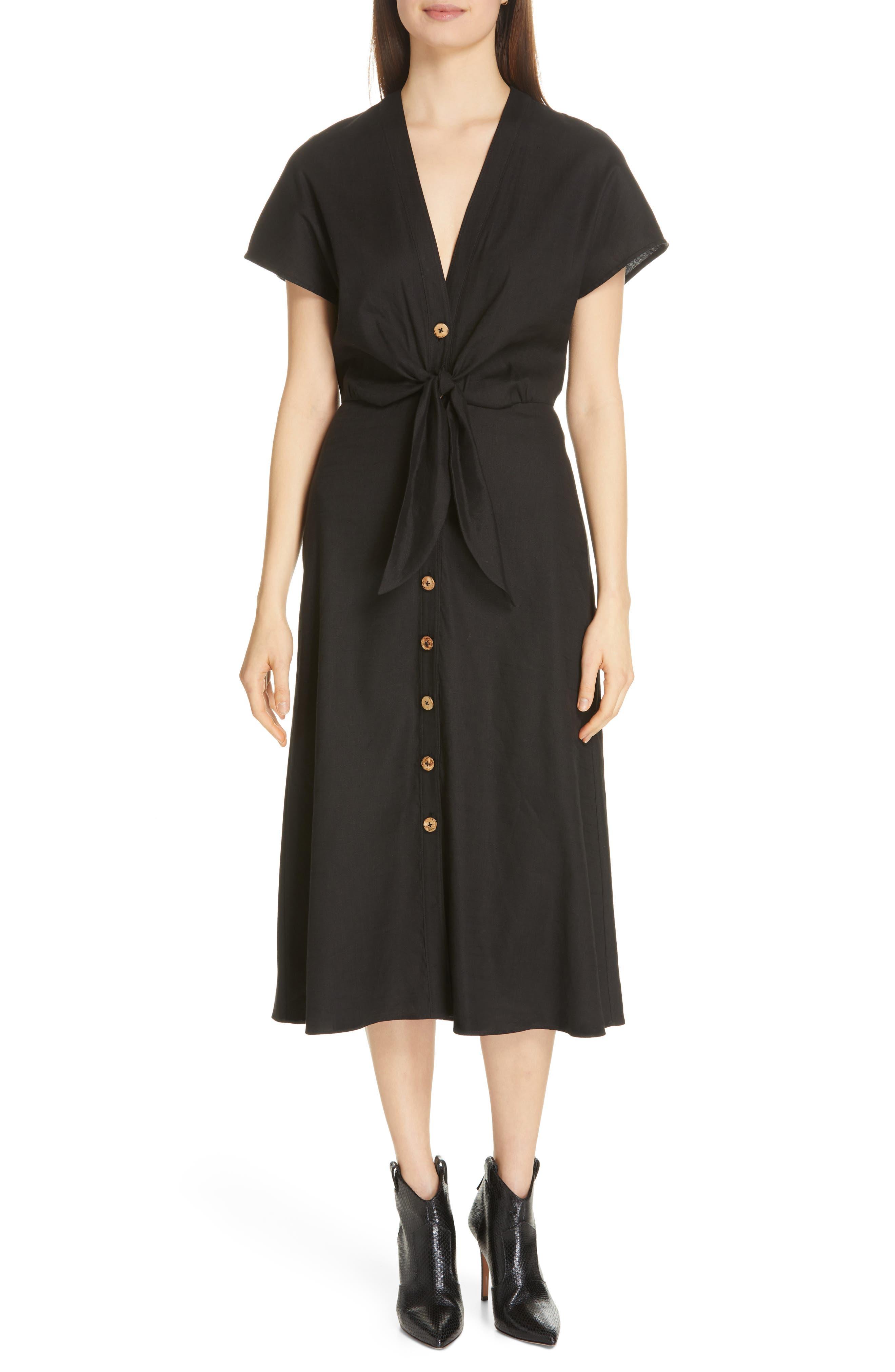 VERONICA BEARD Giana Tie Waist Linen Blend Midi Dress, Main, color, BLACK