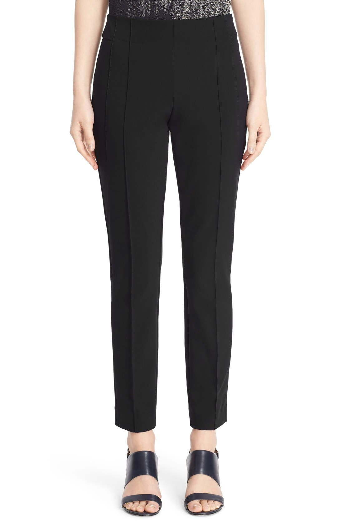 LAFAYETTE 148 NEW YORK, 'Gramercy' Acclaimed Stretch Pants, Main thumbnail 1, color, BLACK