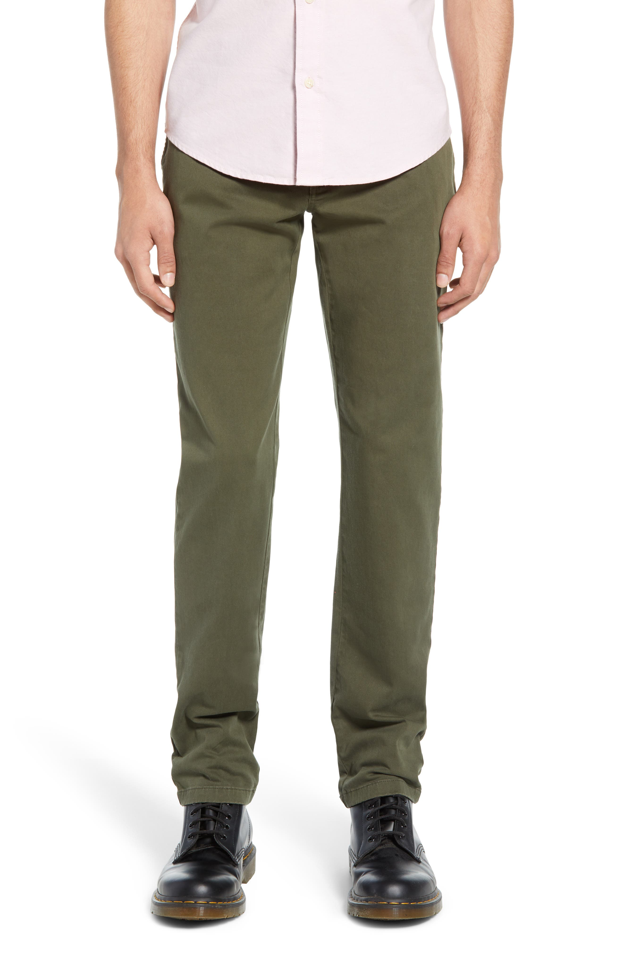 THE RAIL Slim Fit Chinos, Main, color, OLIVE GROVE