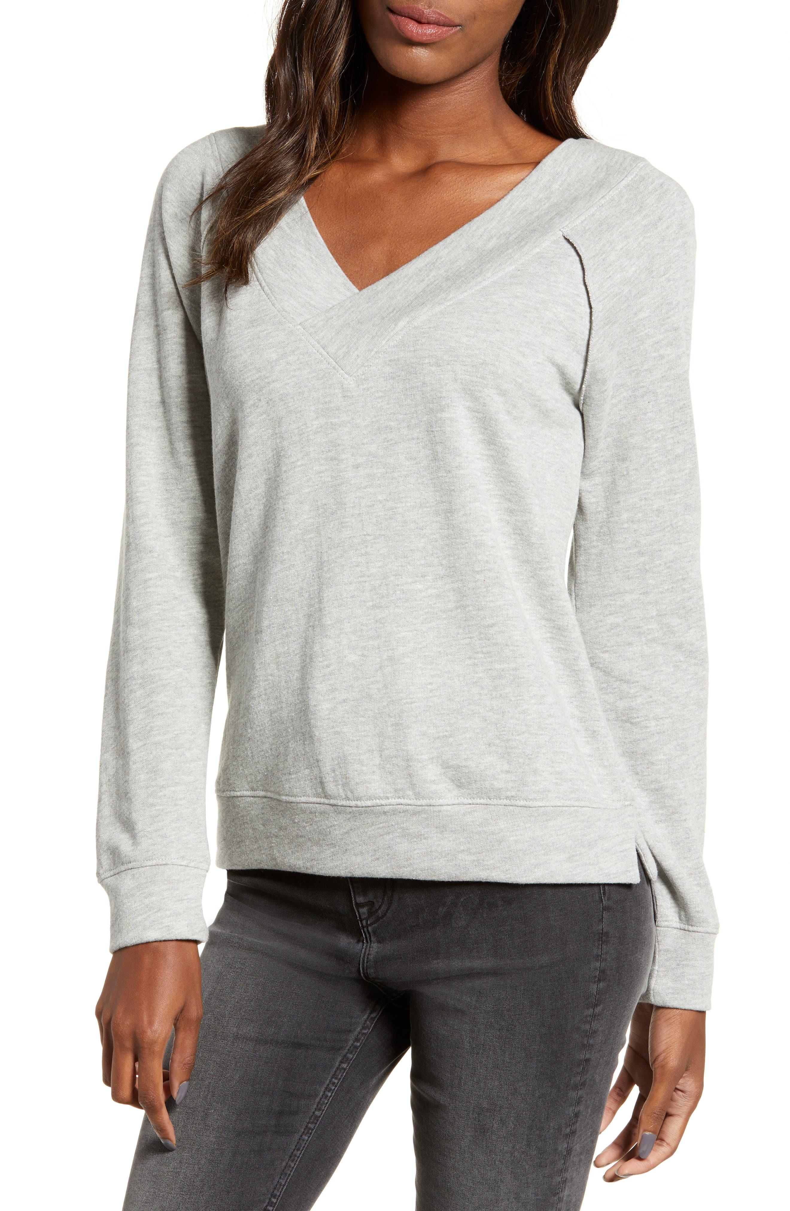 BP. Double V-neck Sweatshirt, Main, color, GREY PEARL HEATHER