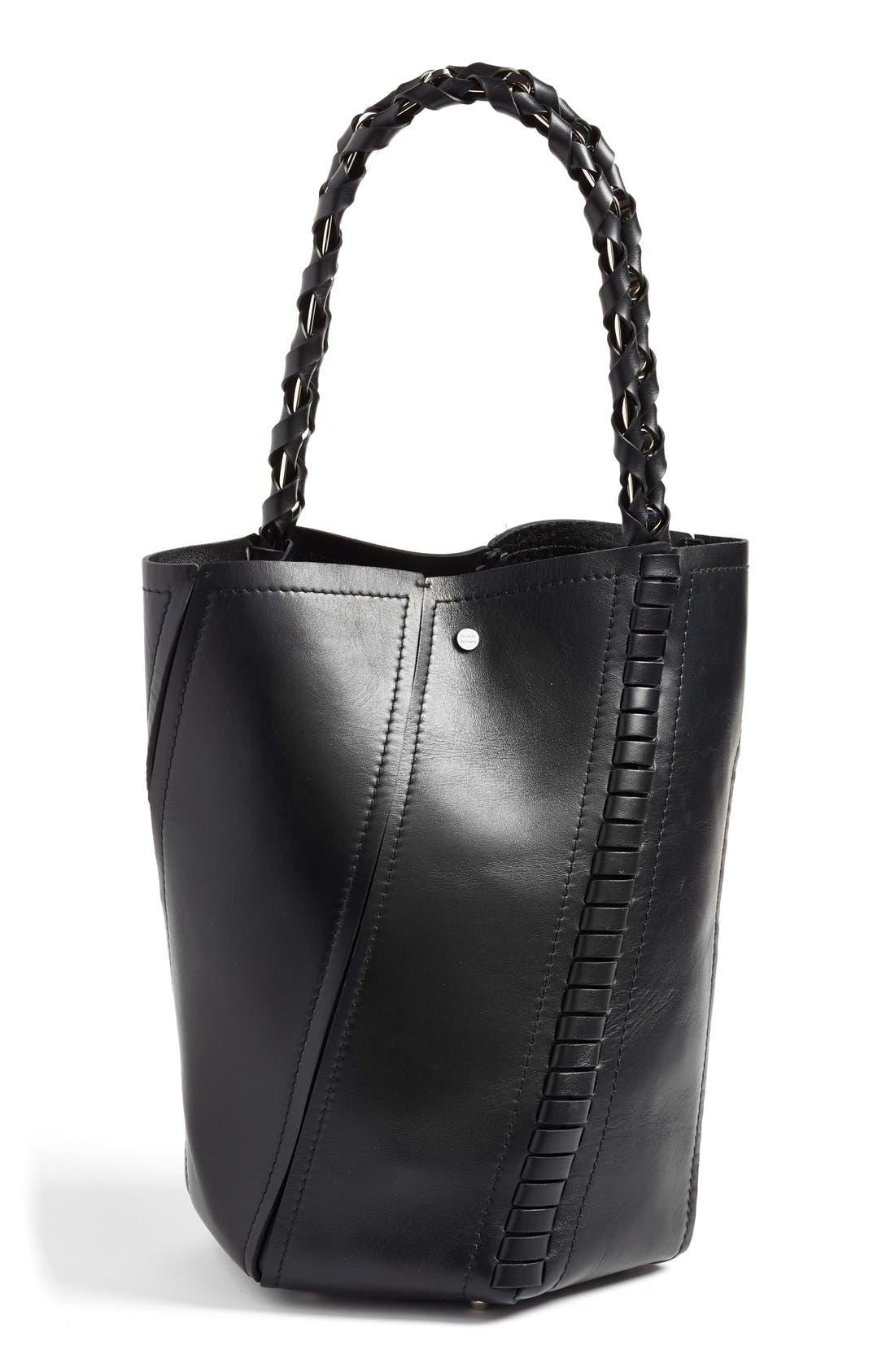 PROENZA SCHOULER, 'Medium Hex' Whipstitch Leather Bucket Bag, Alternate thumbnail 2, color, BLACK