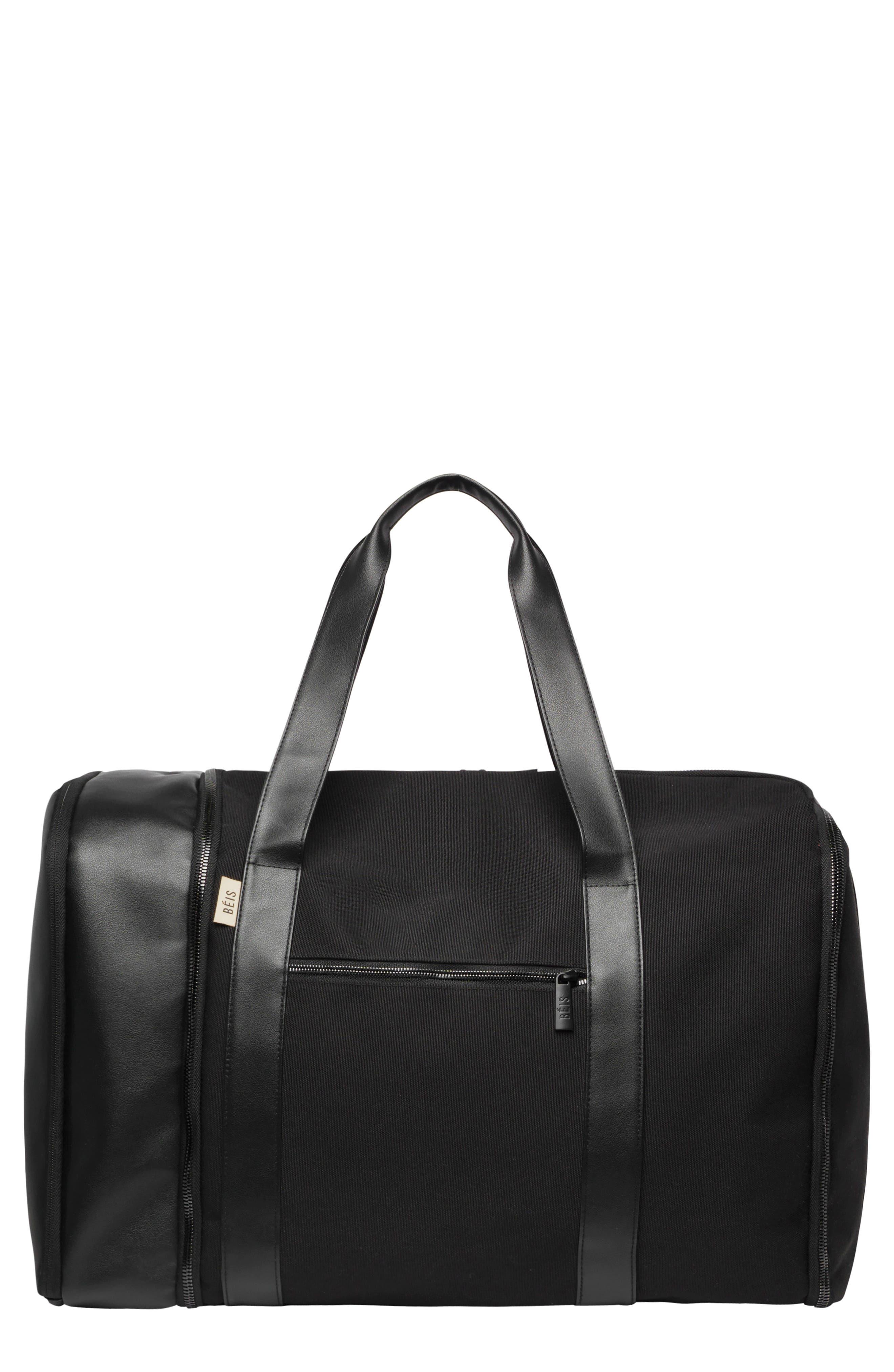 BÉIS, Travel Multi Function Duffle Bag, Main thumbnail 1, color, BLACK