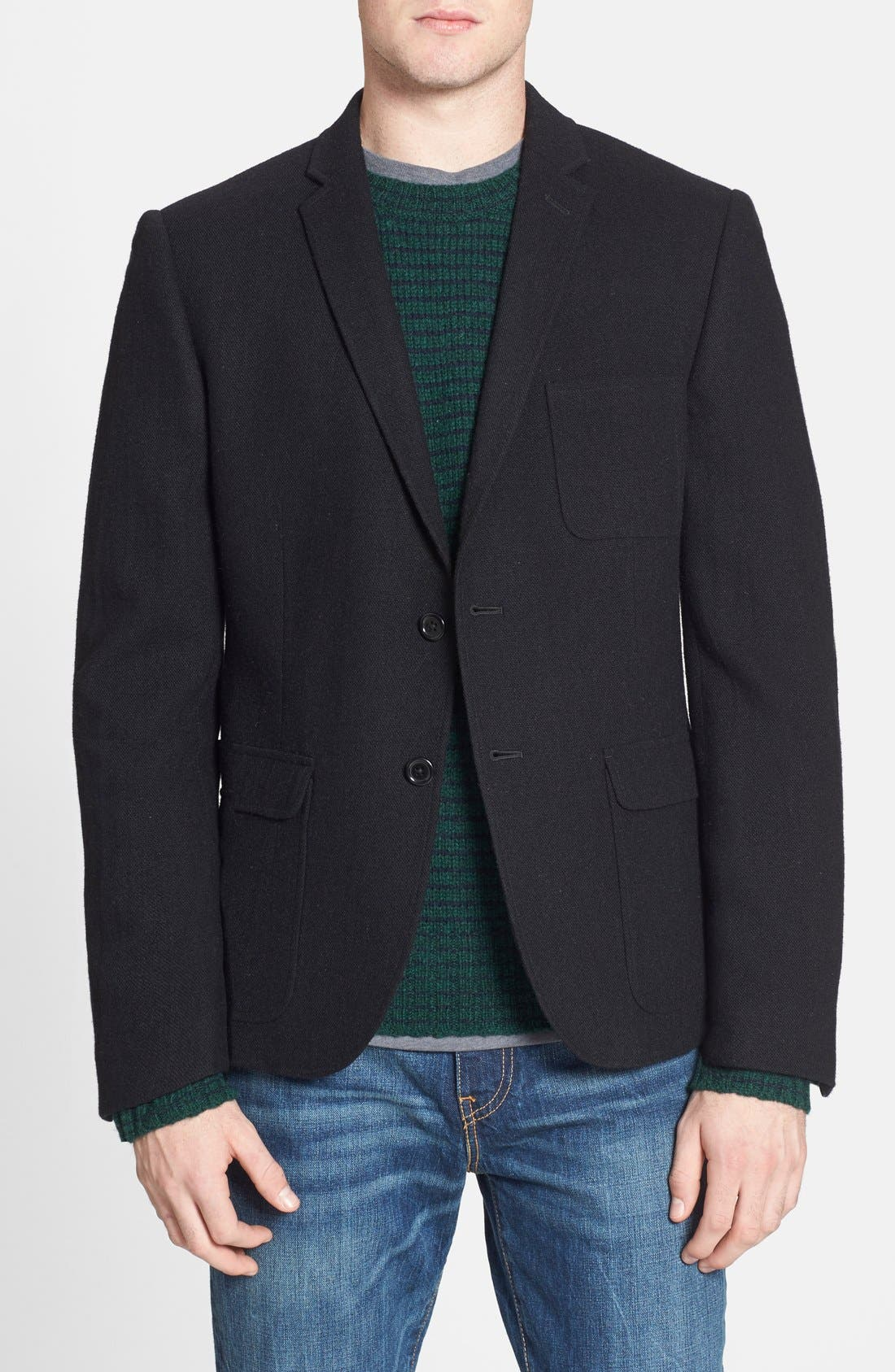 DOCKERS<SUP>®</SUP>, Dockers Trim Fit Wool Blend Blazer, Main thumbnail 1, color, 001